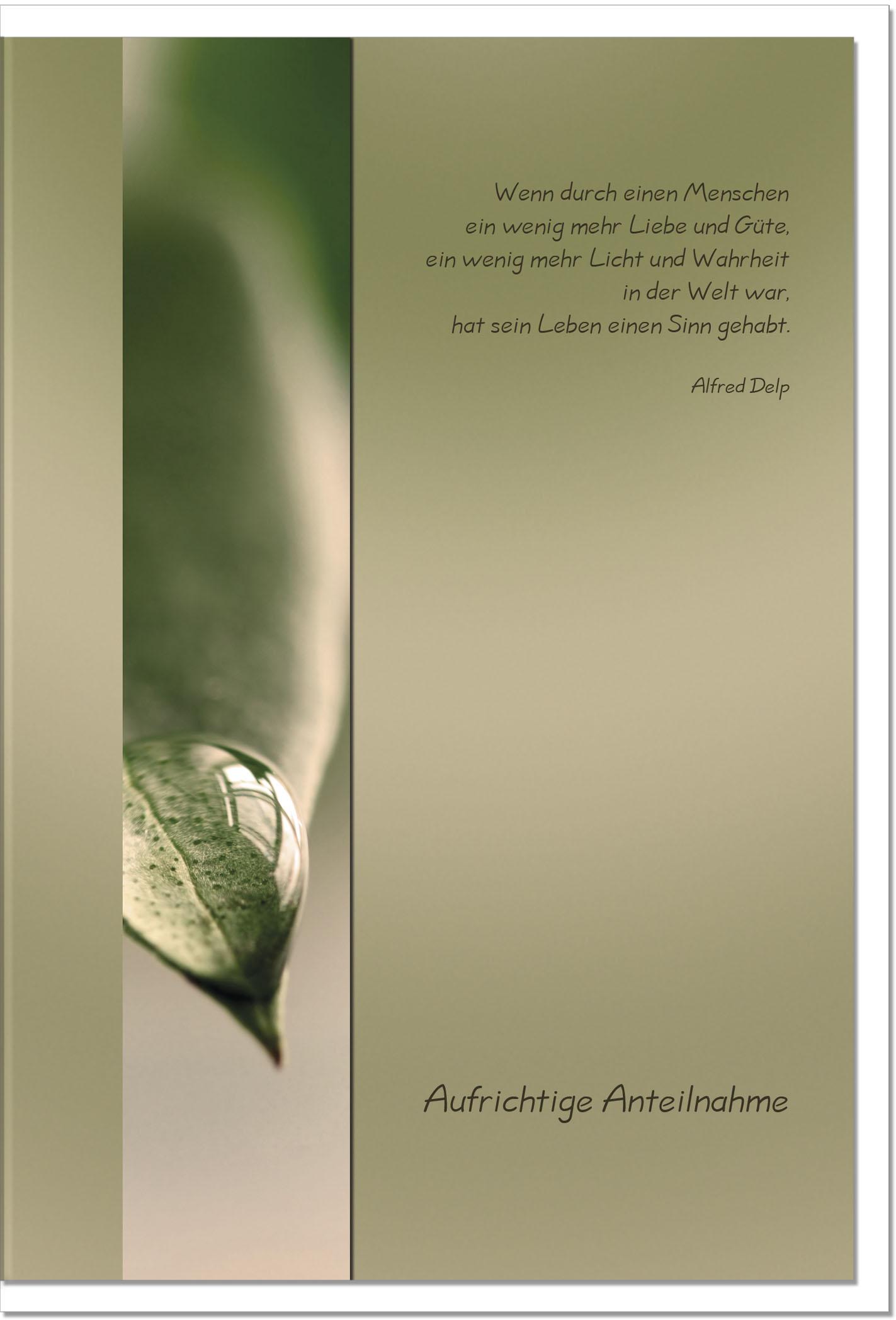Trauerkarte LICHT UND WAHRHEIT | Tautropfen | metALUm #00008