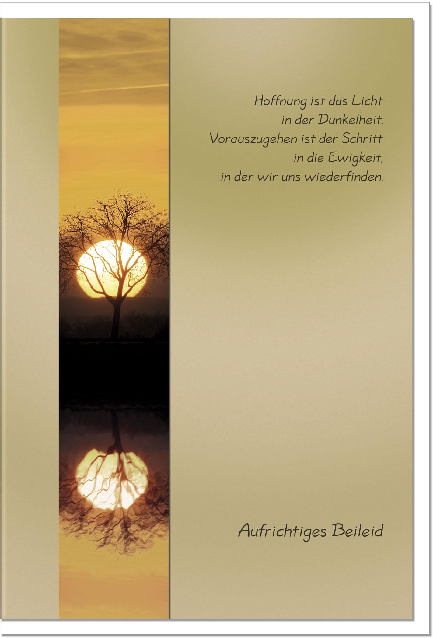 Trauerkarte LICHT UND HOFFNUNG | Sonnenuntergang | metALUm #00009