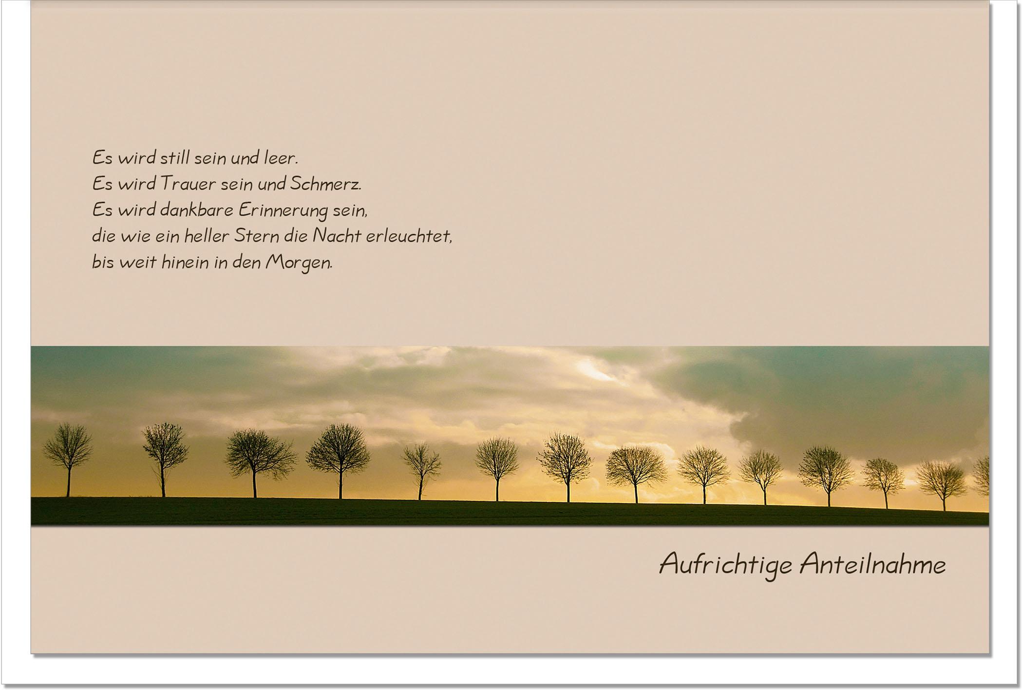 Trauerkarte DANKBARE ERINNERUNG | Bäume | metALUm #00010