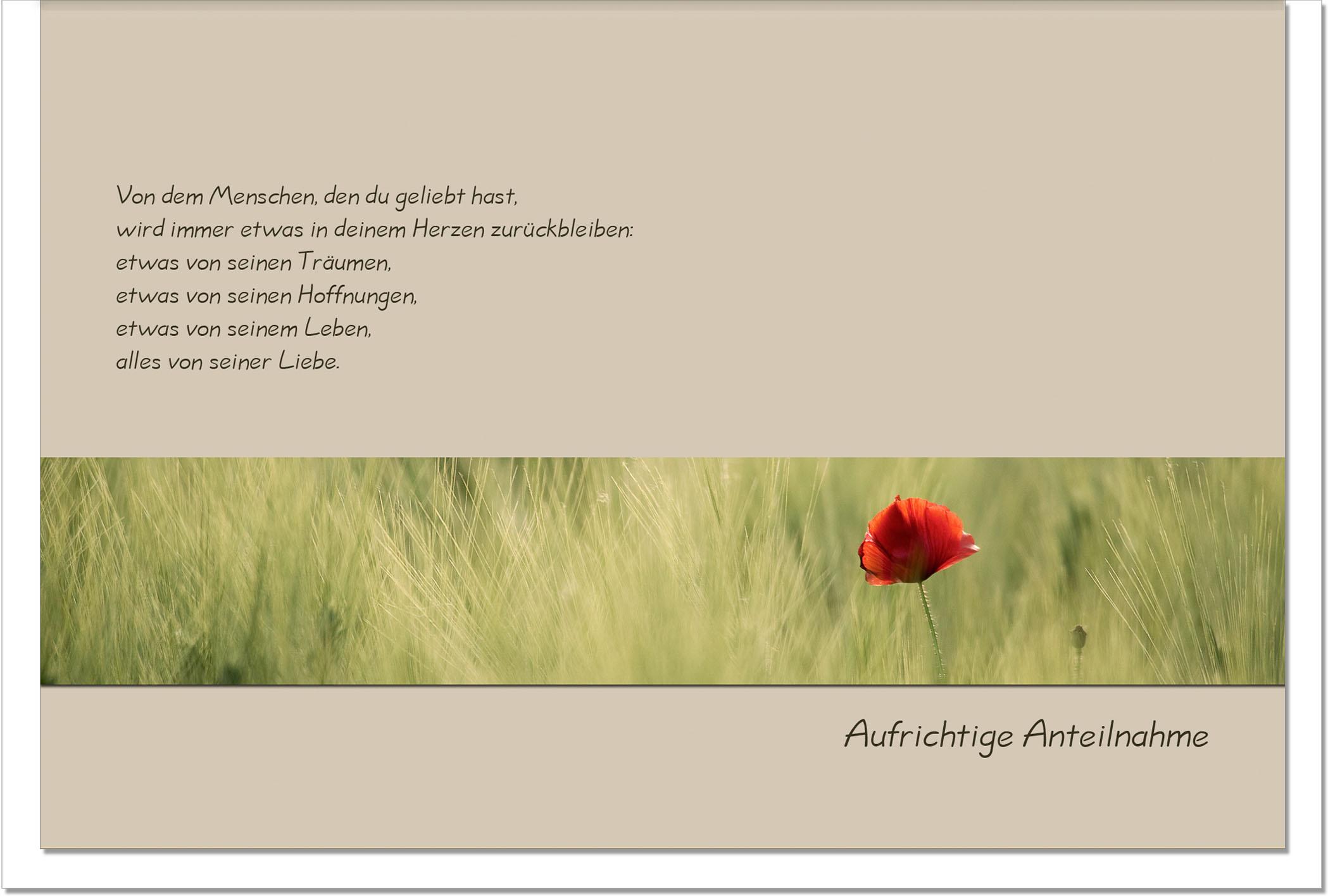 Trauerkarte LIEBEVOLLE ERINNERUNG | Mohnblume | metALUm #00013