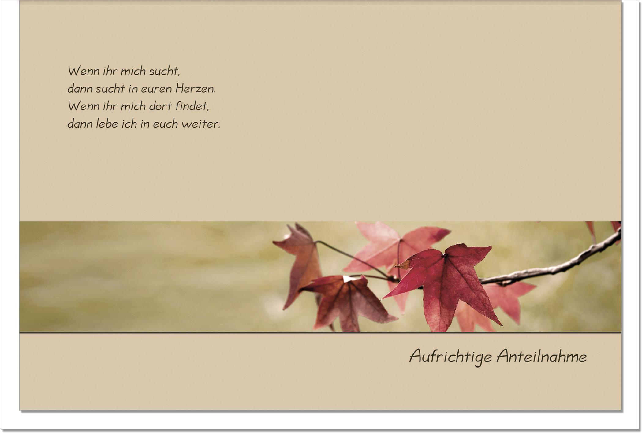 Trauerkarte UNVERGESSEN | Herbstlaub | metALUm #00014
