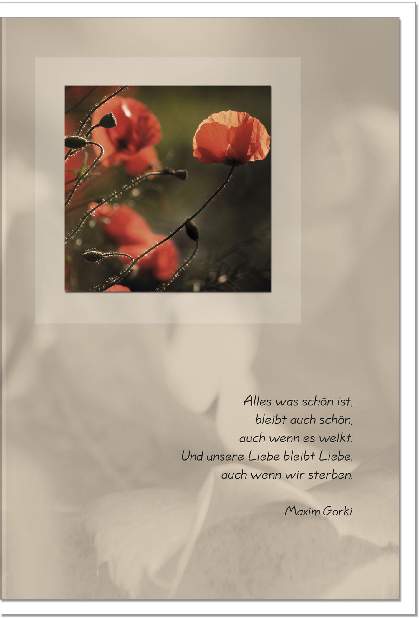 Trauerkarte DIE LIEBE BLEIBT | Mohn | metALUm #00015