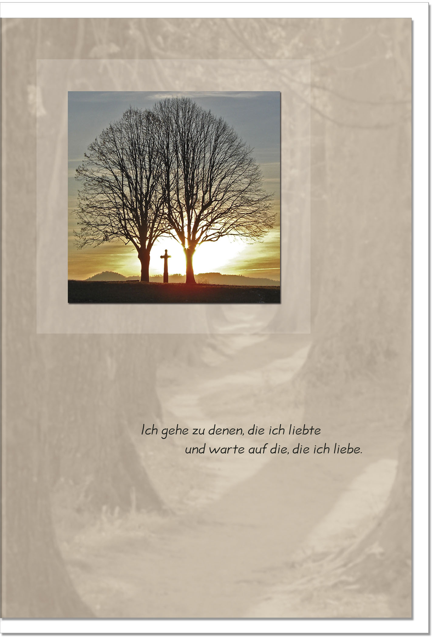 Trauerkarte ABSCHIED | Kreuz im Sonnenuntergang | metALUm #00017