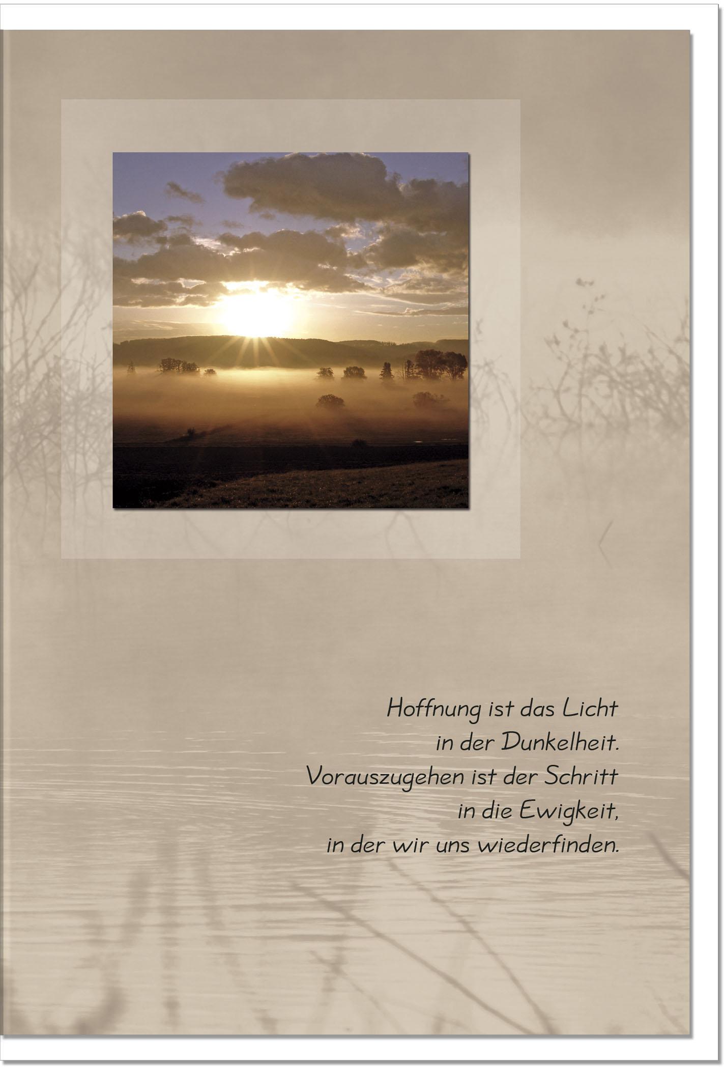 Trauerkarte LICHT IN DER DUNKELHEIT | Sonnenuntergang | metALUm #00019