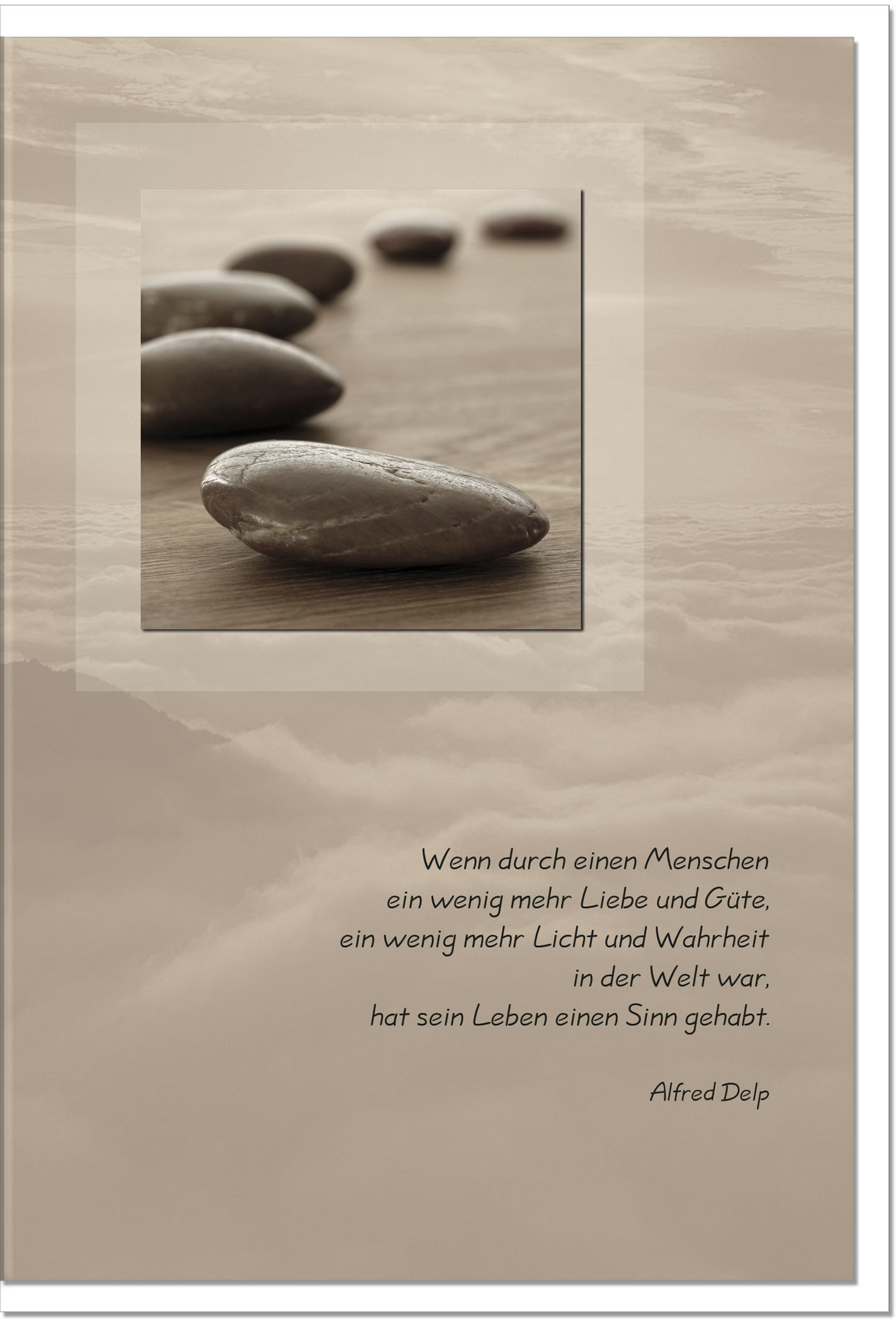 Trauerkarte LIEBE UND GÜTE | Steine im Sand | metALUm #00021