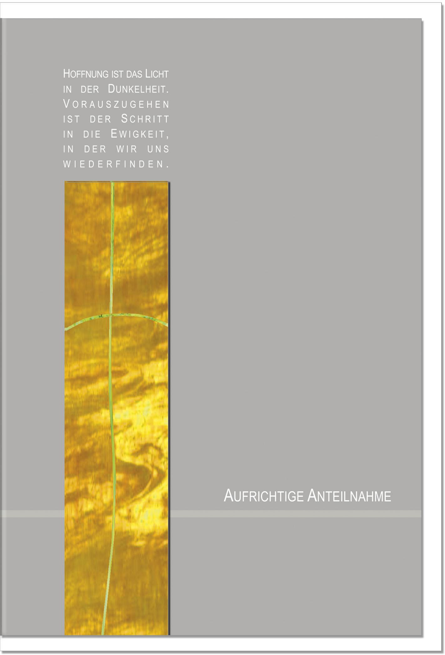 Trauerkarte AUFERSTEHUNG | mit Metall - Verzierung | metALUm #00024