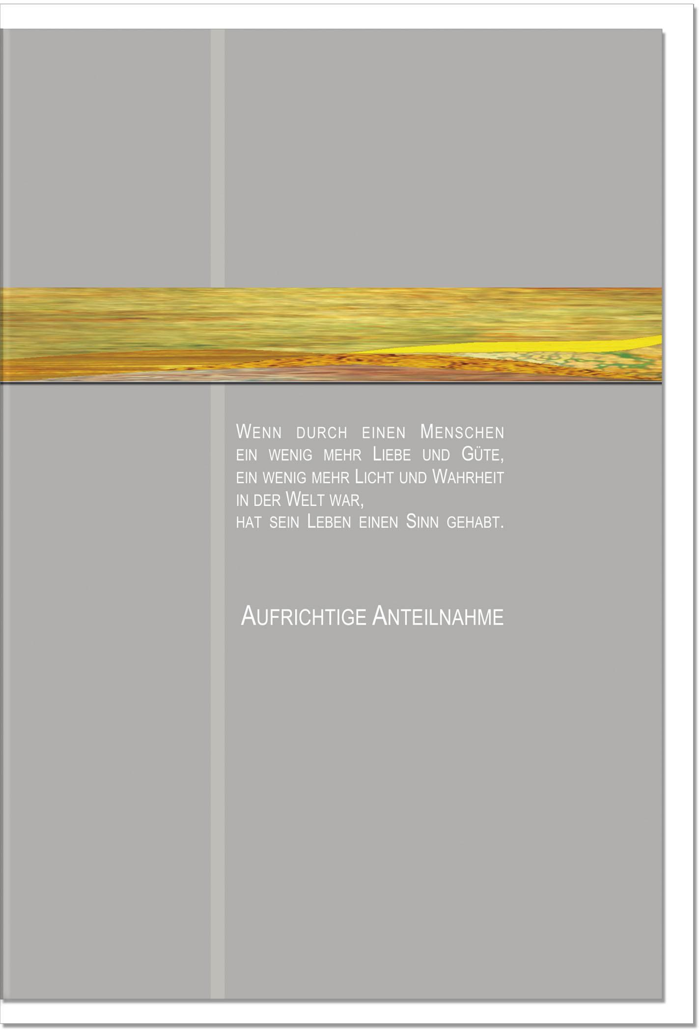 Trauerkarte SPUREN| mit edler Metall - Verzierung | metALUm #00027