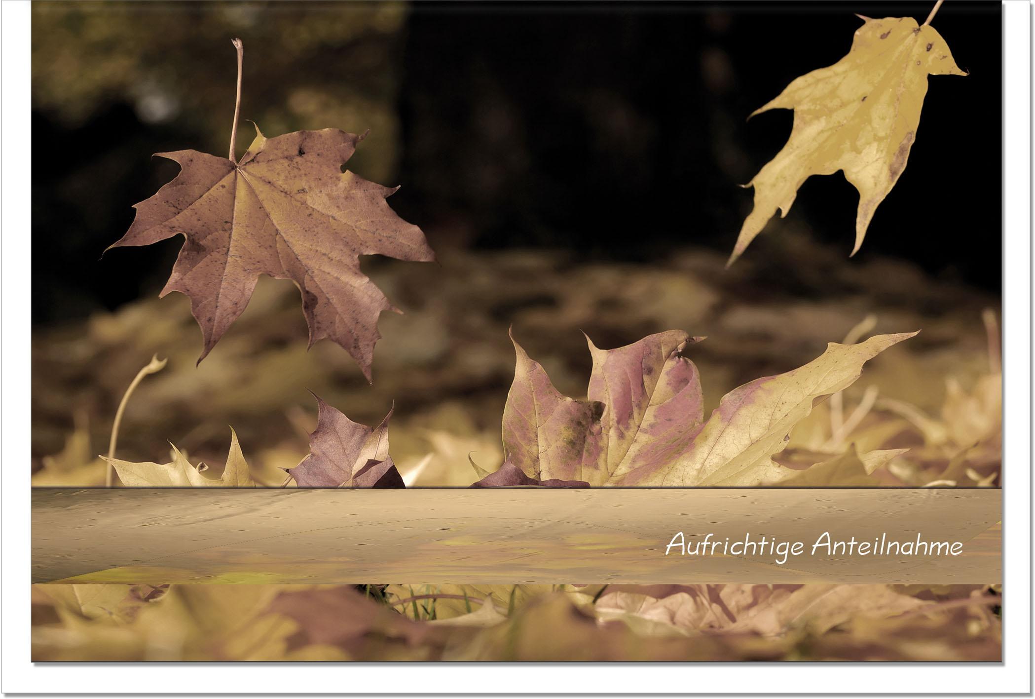 Trauerkarte ABSCHIED | Herbstlaub | metALUm #00029