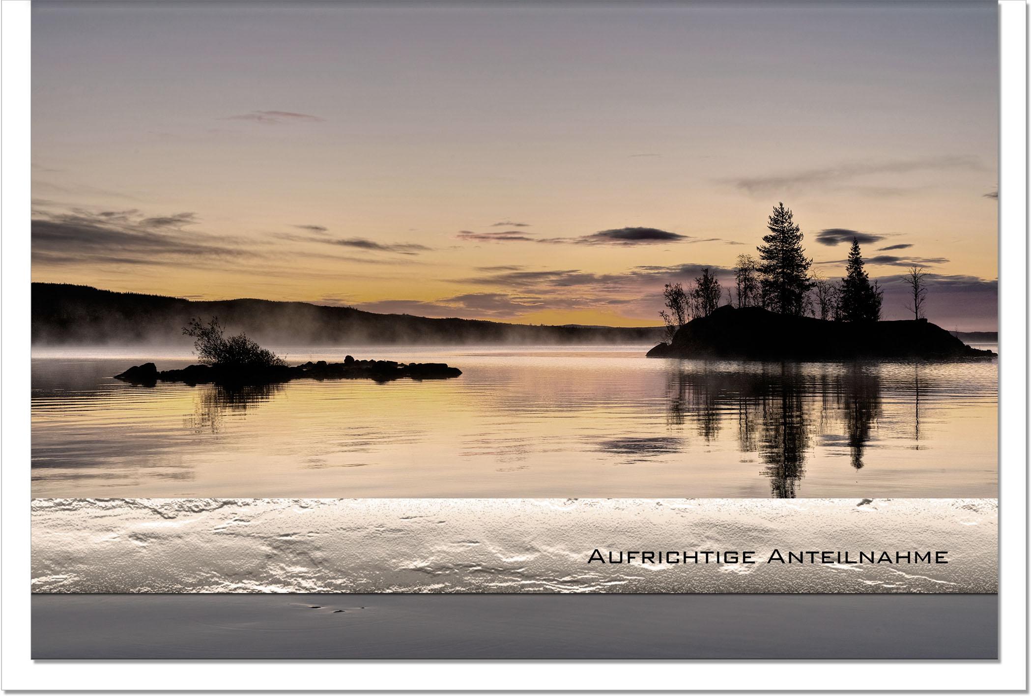 Trauerkarte STILLE | See im Sonnenuntergang | metALUm #00035