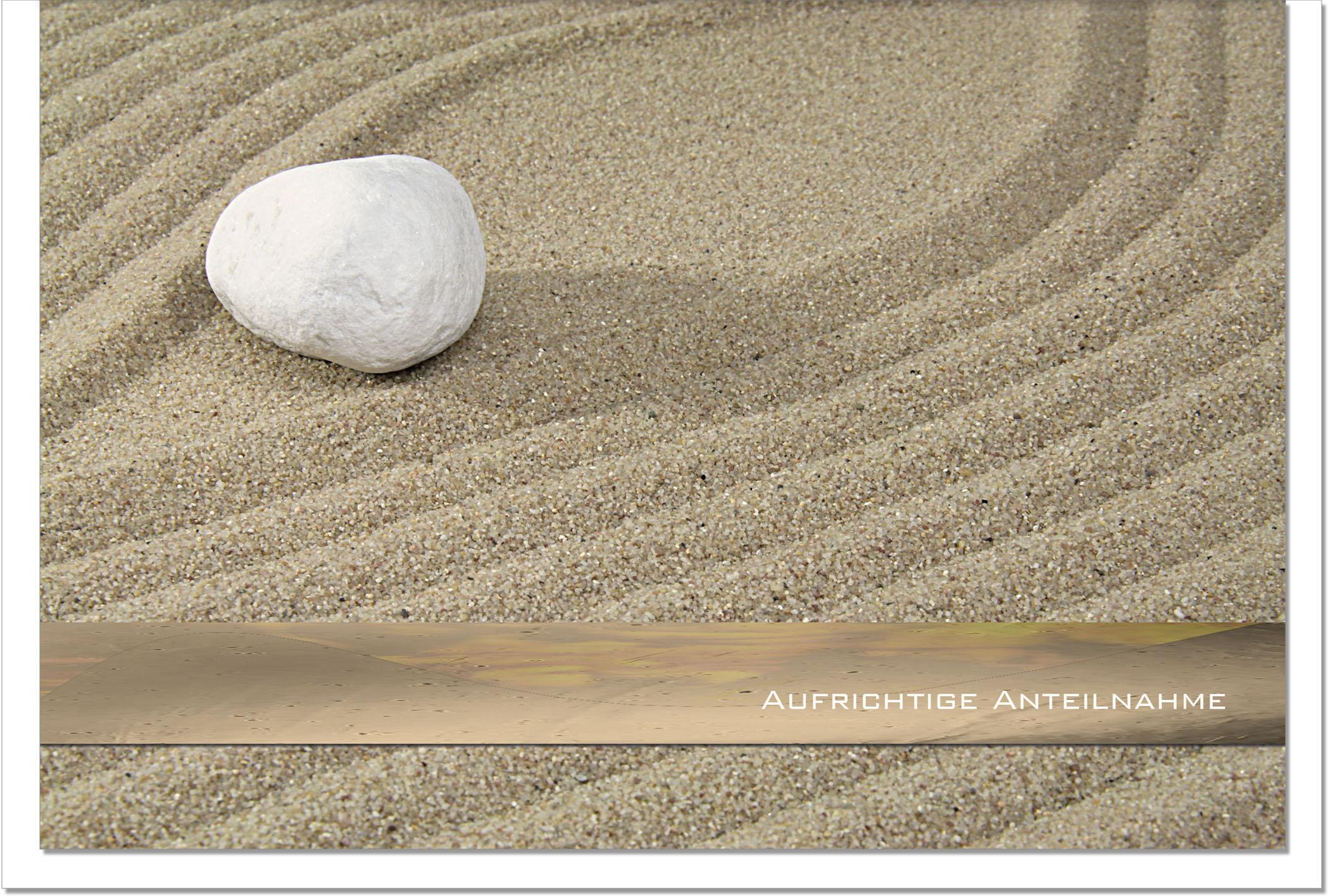 Trauerkarte ZEN | Stein im Sand | metALUm #00038