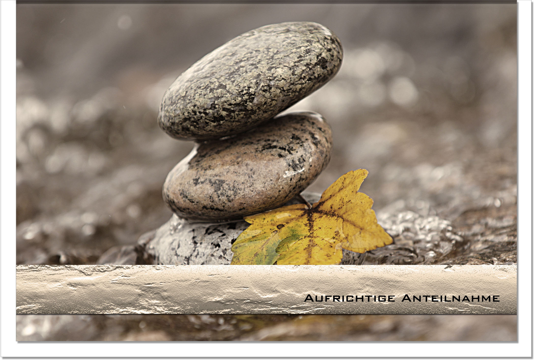 Trauerkarte ABSCHIED | Steine | metALUm #00040