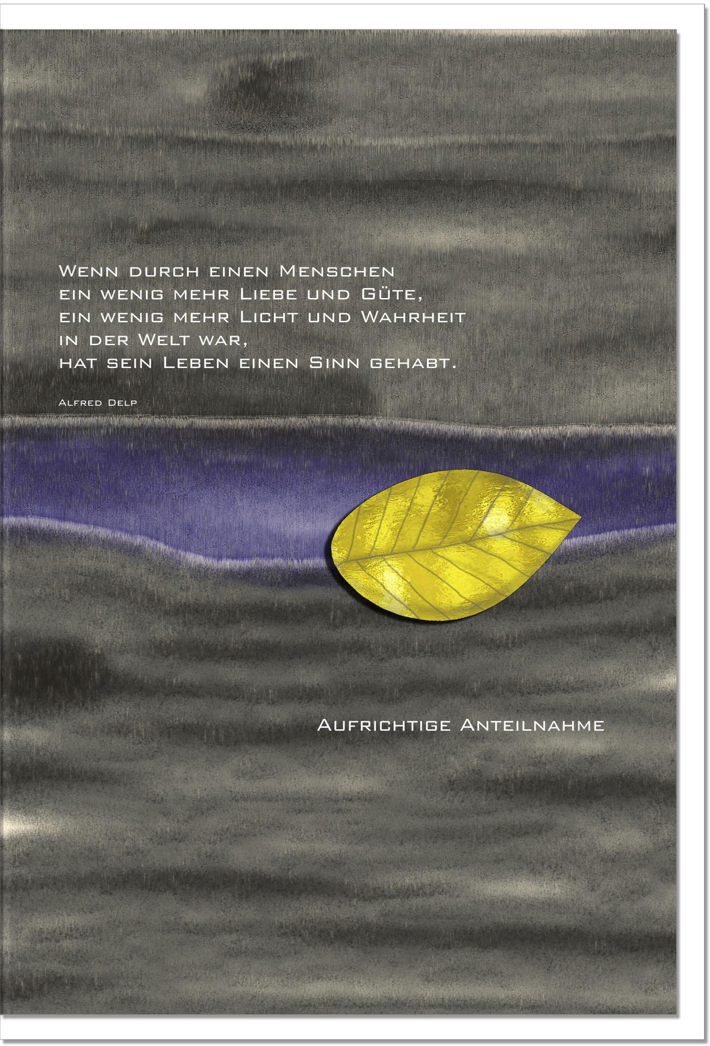 Trauerkarte LICHT UND WAHRHEIT | Blatt | metALUm #00041
