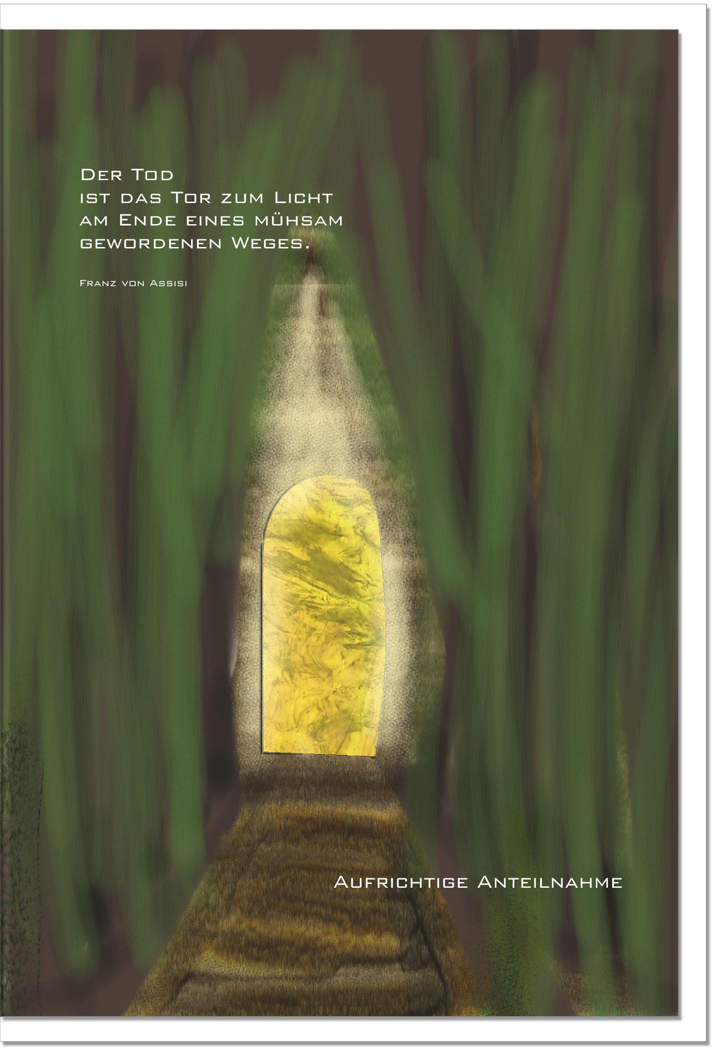 Trauerkarte ERLÖSUNG  | Tor zum Licht | metALUm #00043