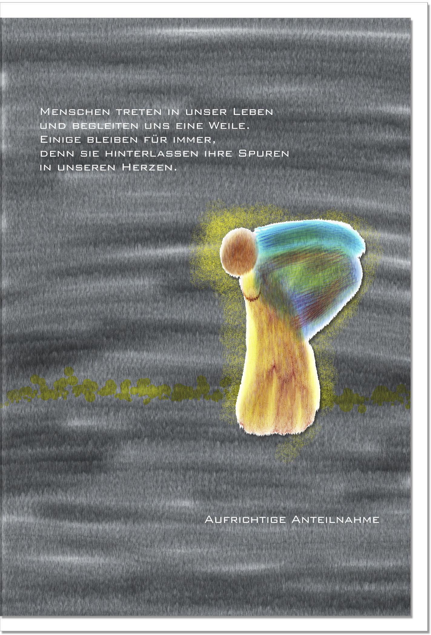 Trauerkarte SPUREN IM HERZEN | Engel | metALUm #00045