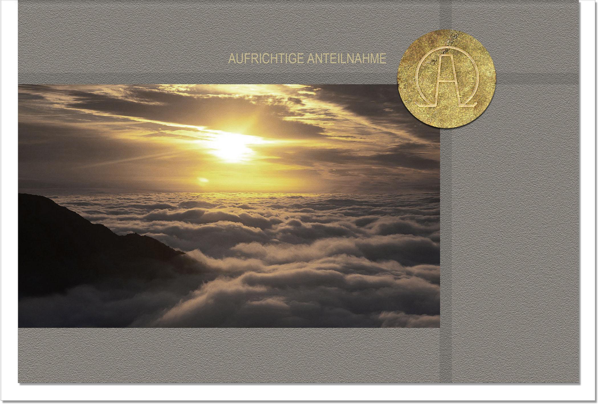 Trauerkarte ALPHA UND OMEGA | Sonnenuntergang | metALUm #00048