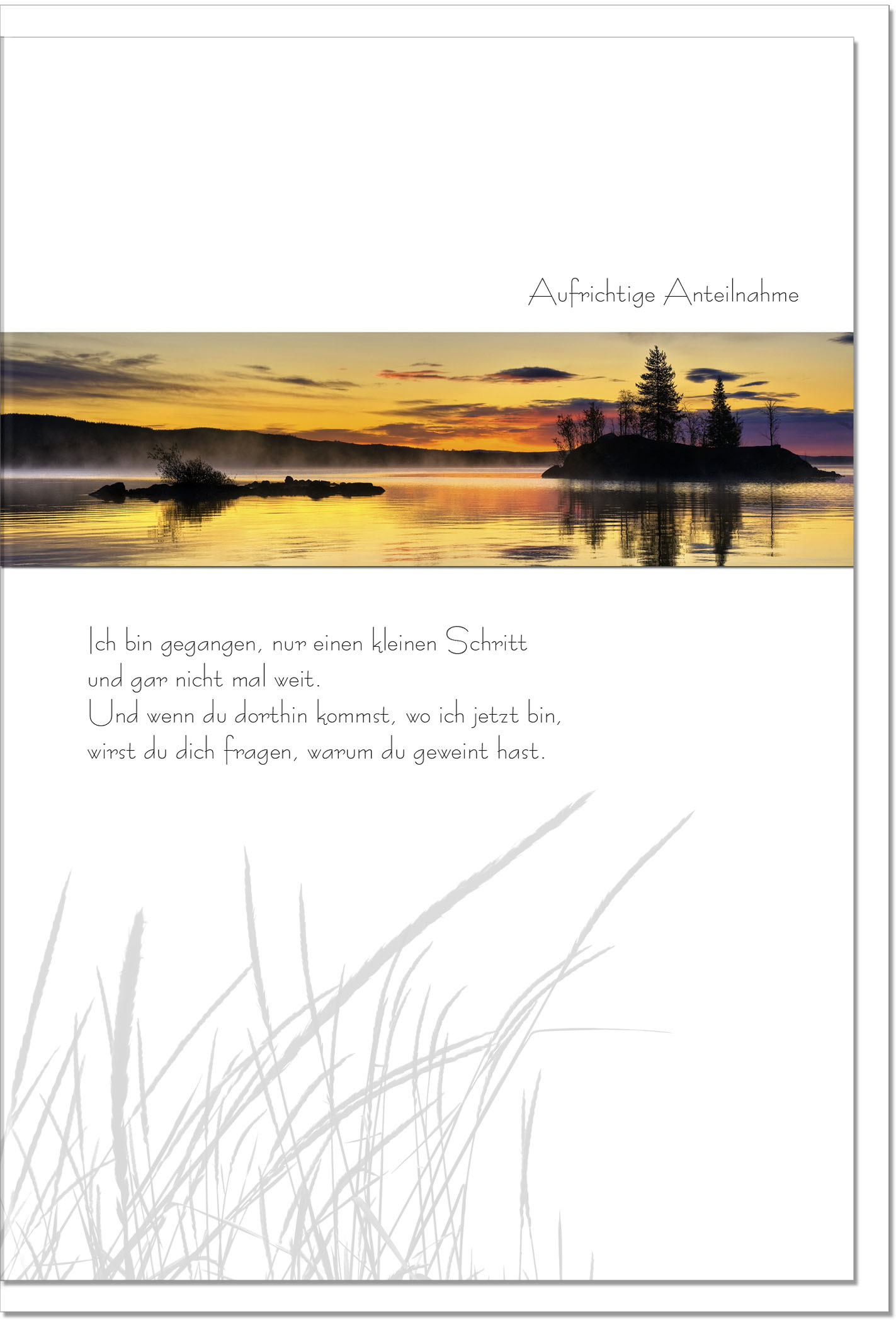 Kondolenzkarte VORAUSGEGANGEN | Sonnenuntergang | metALUm #00076