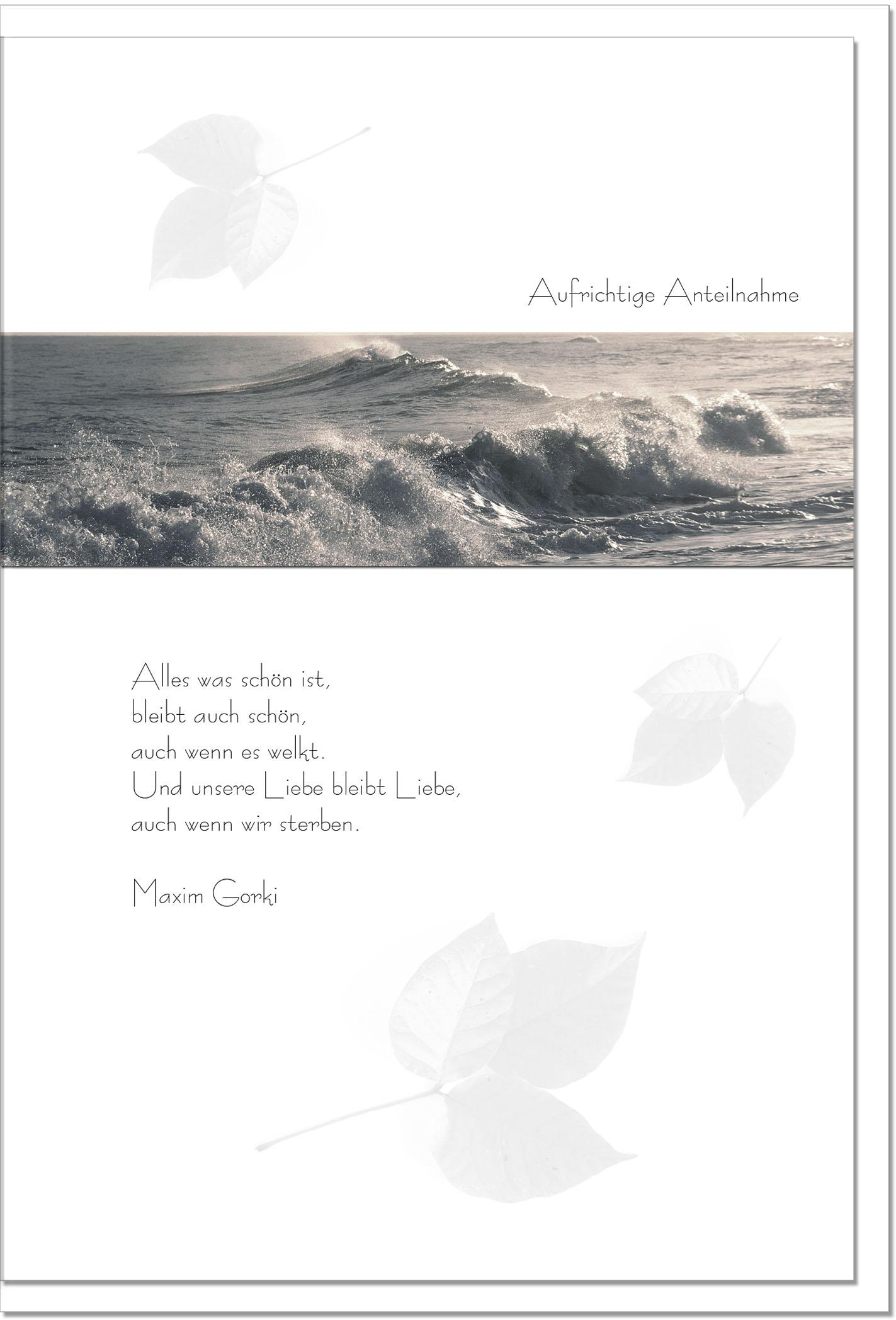 Trauerkarte DIE LIEBE BLEIBT | Brandung | metALUm #00078