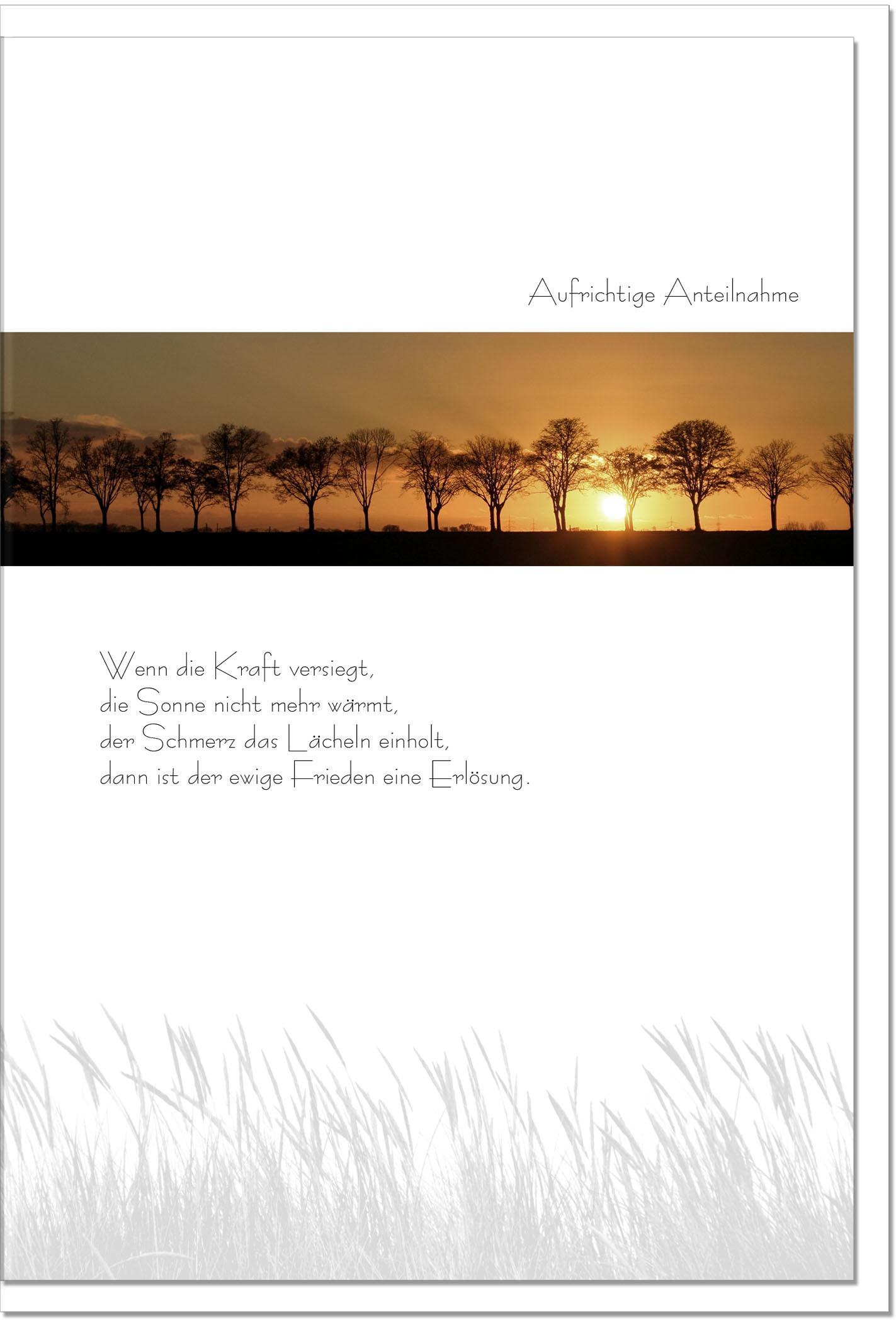 Trauerkarte ERLÖSUNG | Bäume im Sonnenuntergang | metALUm #00081