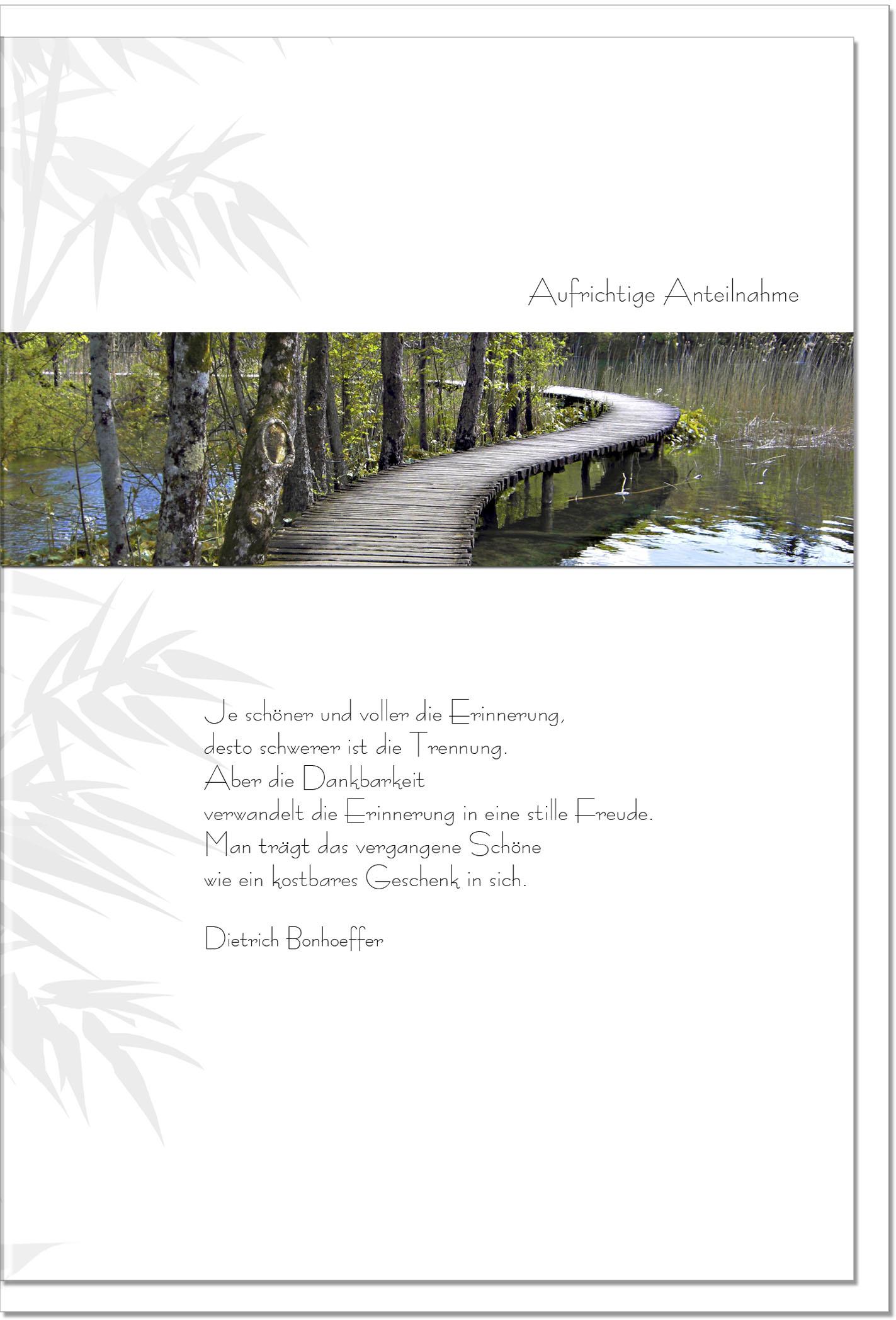 Trauerkarte ERINNERUNG | Steg | metALUm #00082