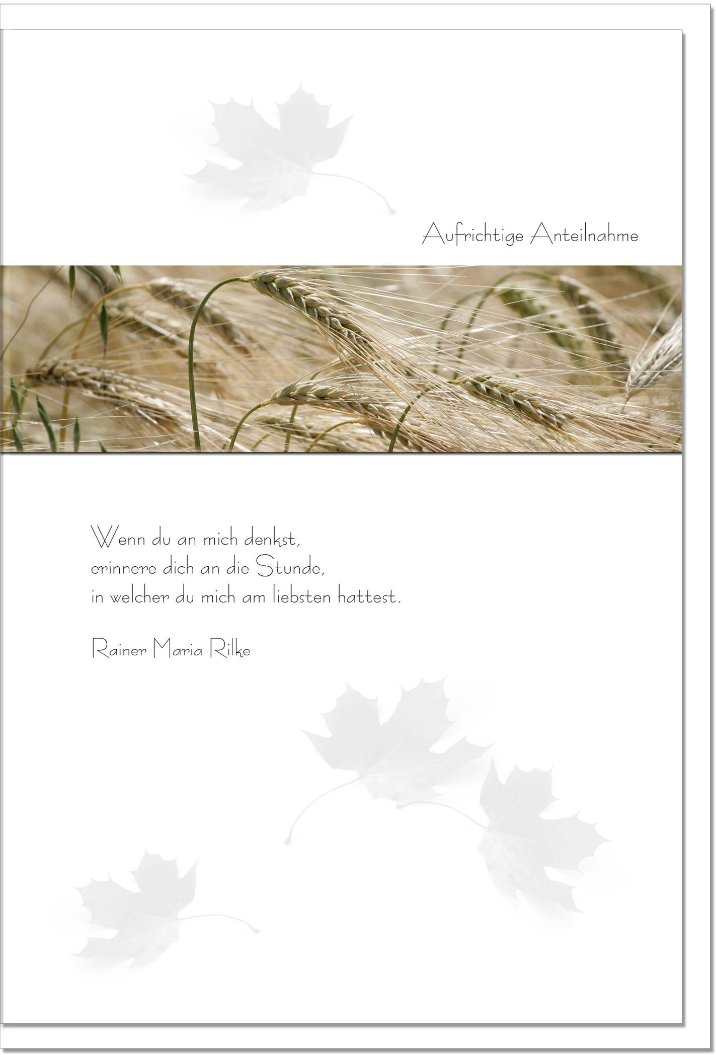 Trauerkarte ERINNERUNG | Ähren im Wind | metALUm #00084