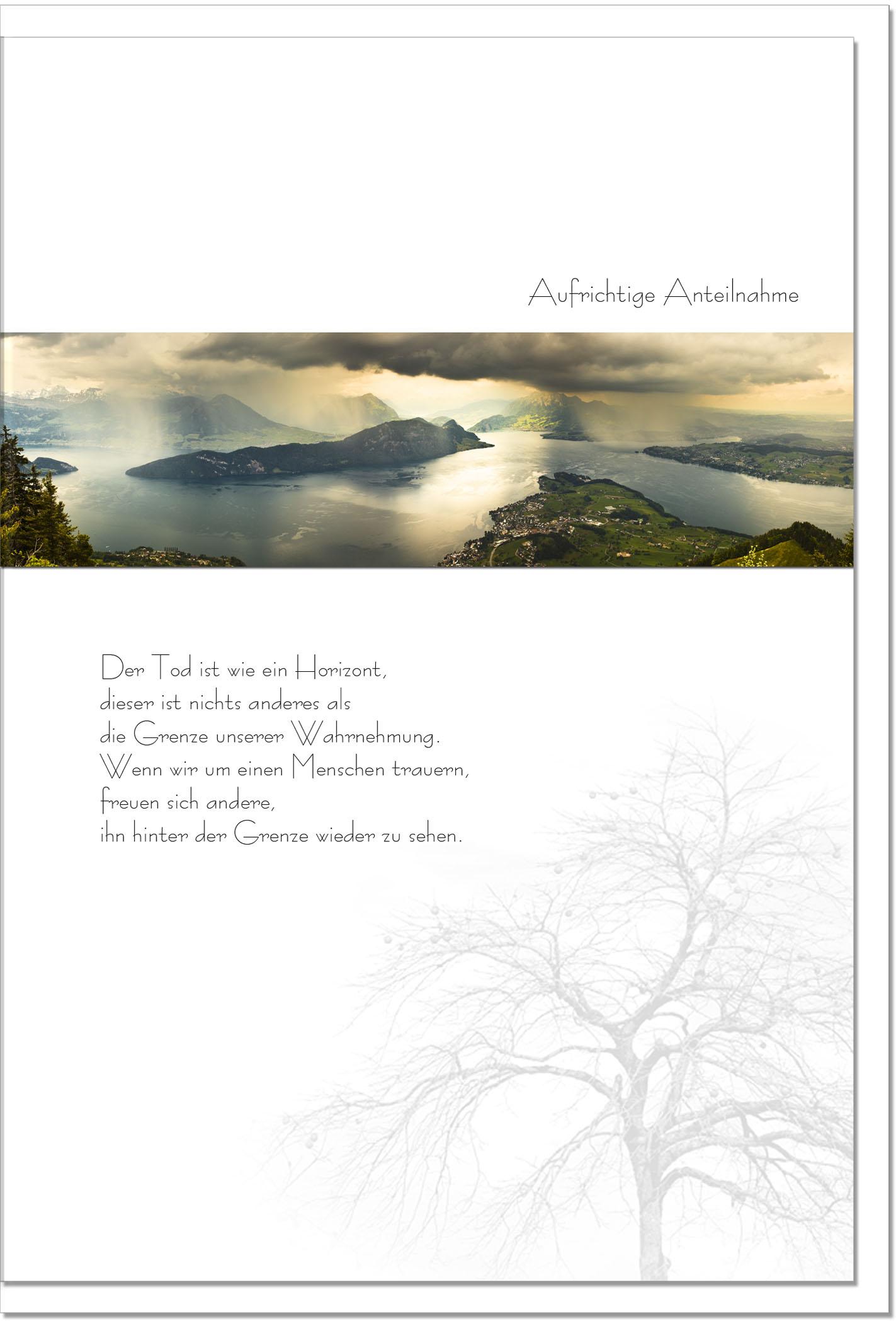 Trauerkarte HINTER DEM HORIZONT | Landschaft im Nebel | metALUm #00085