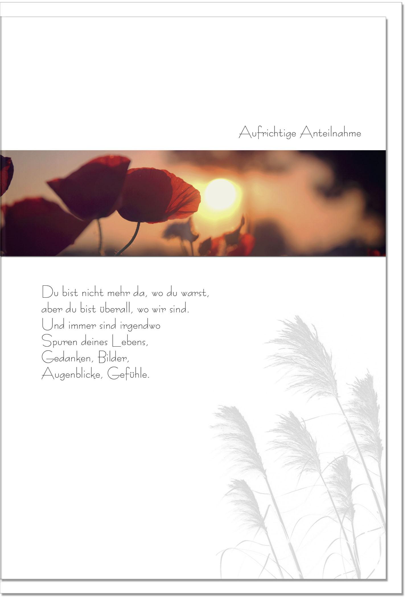 Trauerkarte ERINNERUNGEN | Mohn im Sonnenuntergang | metALUm #00086