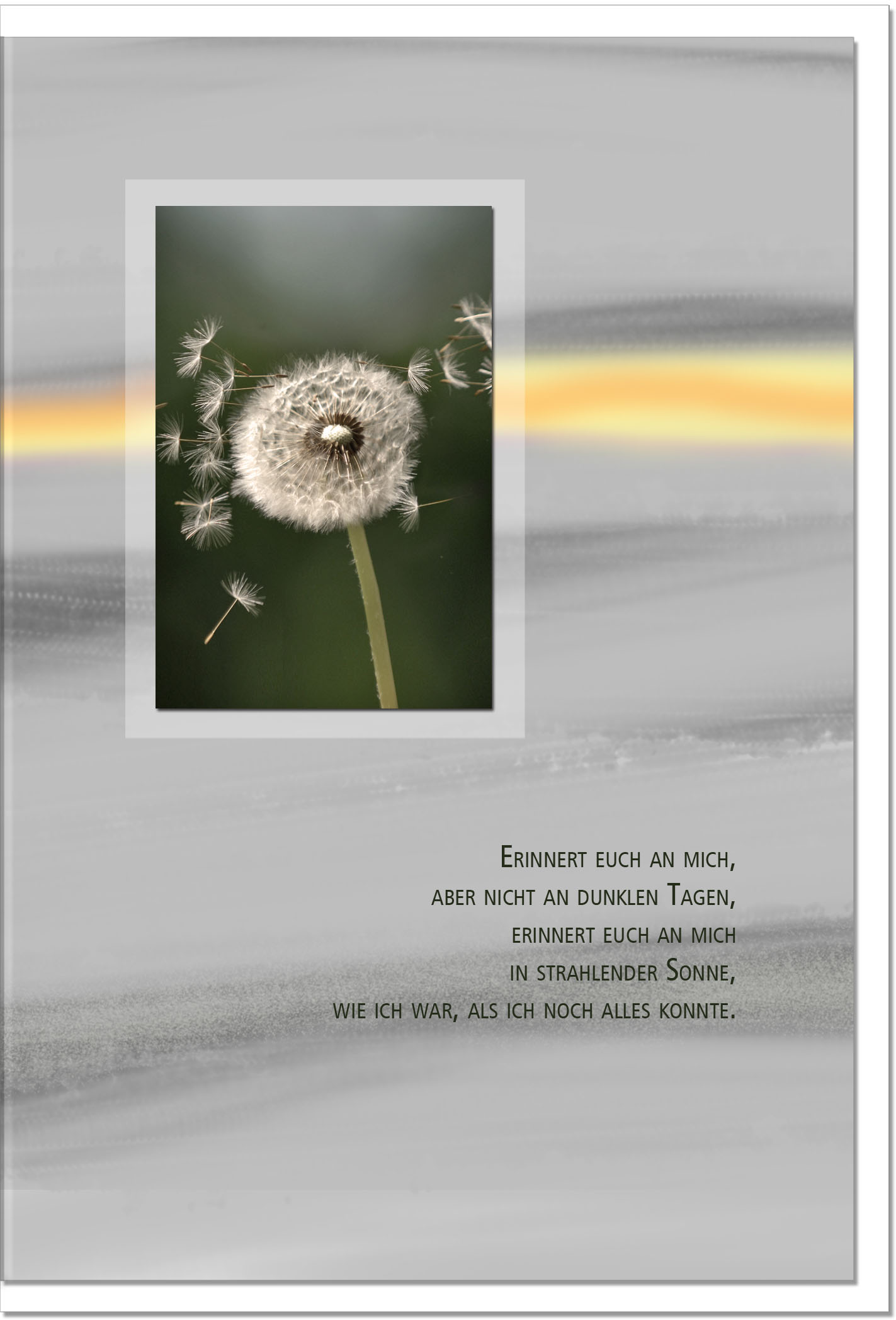 Beileidskarte ERINNERUNG | Pusteblume | metALUm #00089