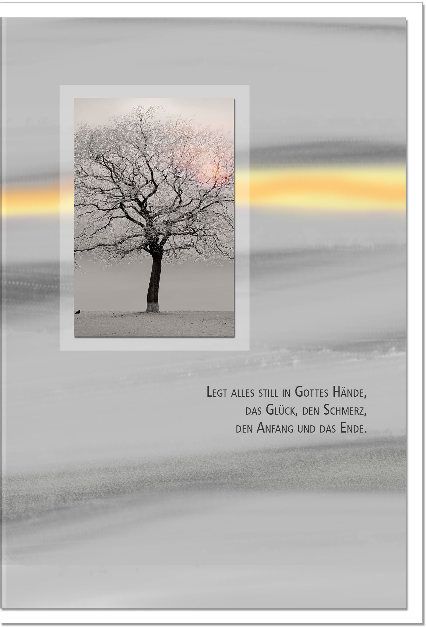 Trauerkarte IN GOTTES HAND | Baum im Sonnenuntergang | metALUm #00090