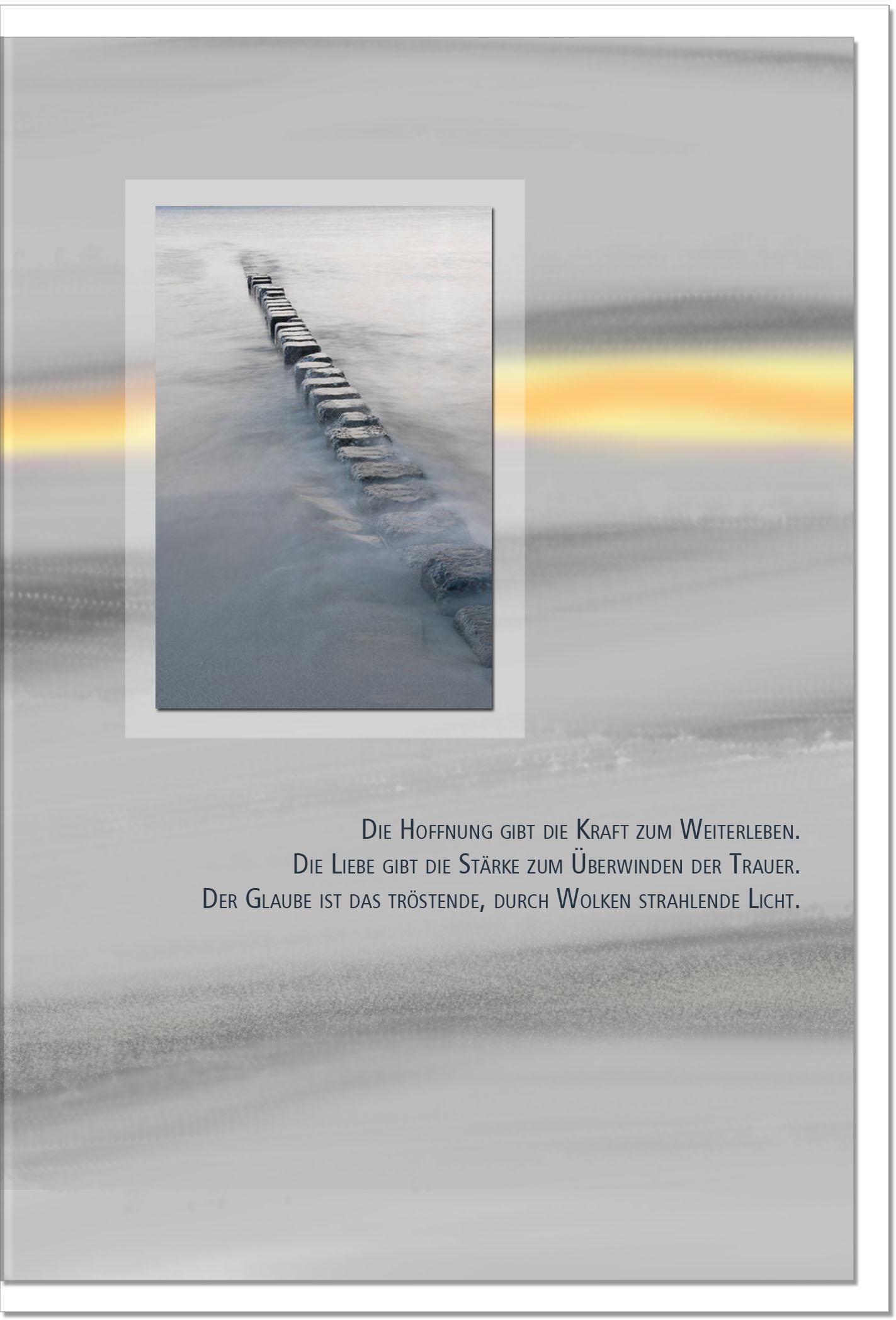 Trauerkarte TROST IM GLAUBEN | Meeresstrand | metALUm #00091