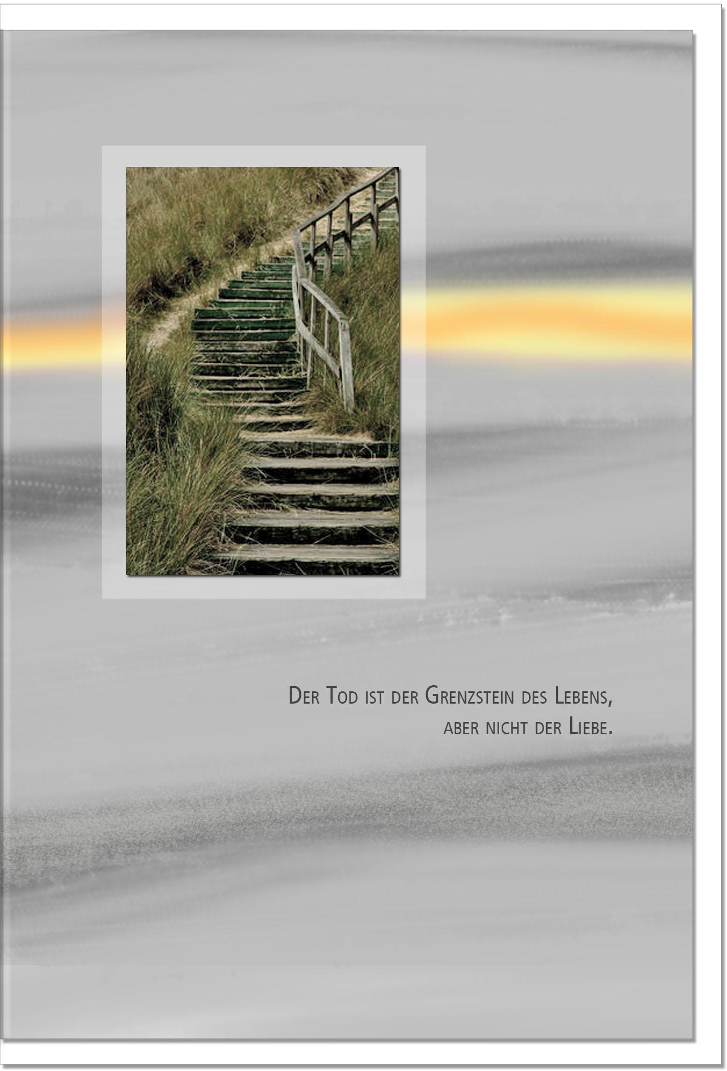 Beileidskarte DIE LIEBE BLEIBT | Stufen im Gras | metALUm #00094