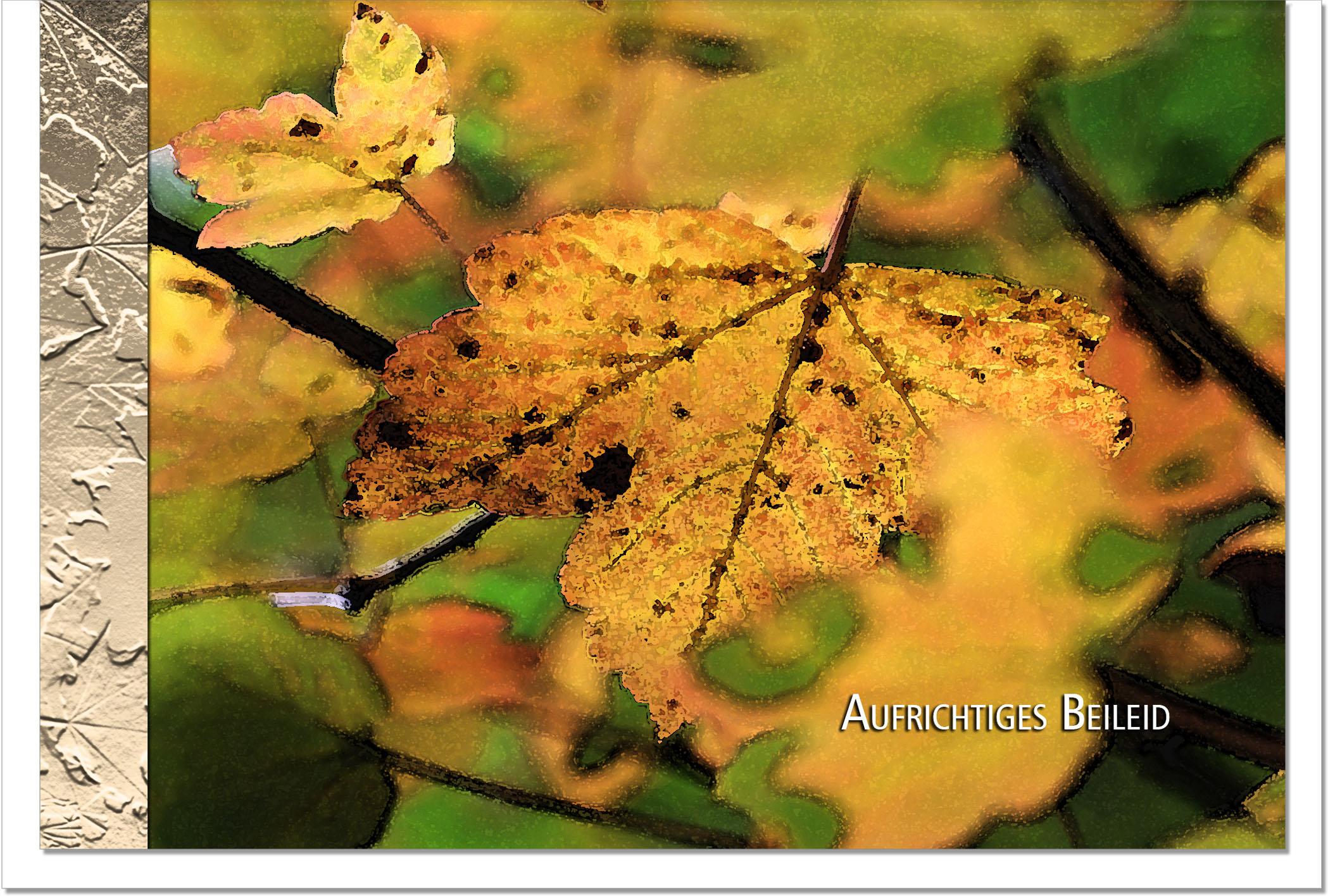 Kondolenzkarte ABSCHIED | Herbstlaub | metALUm #00098