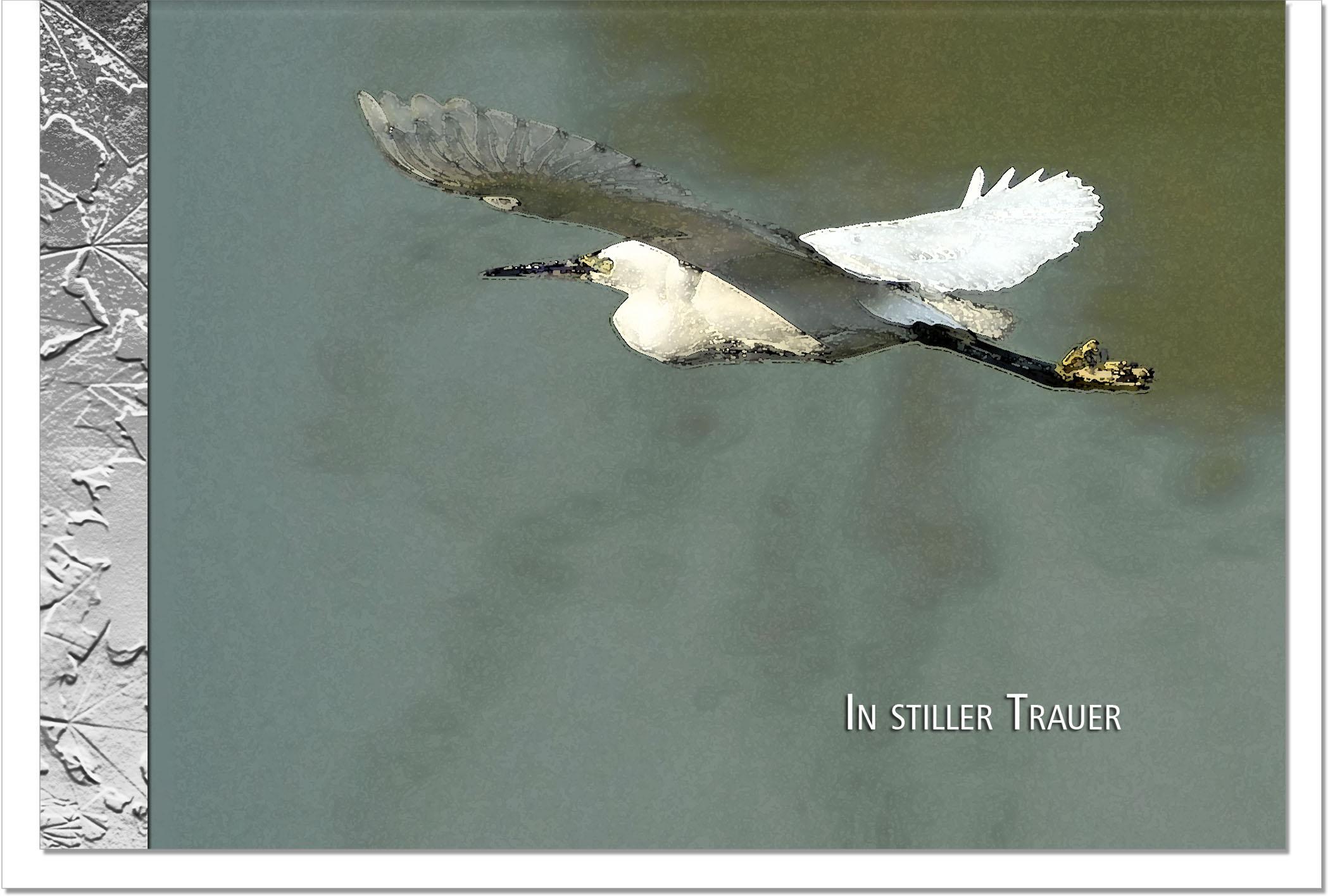Trauerkarte ABSCHIED | Silberreiher | metALUm #00099