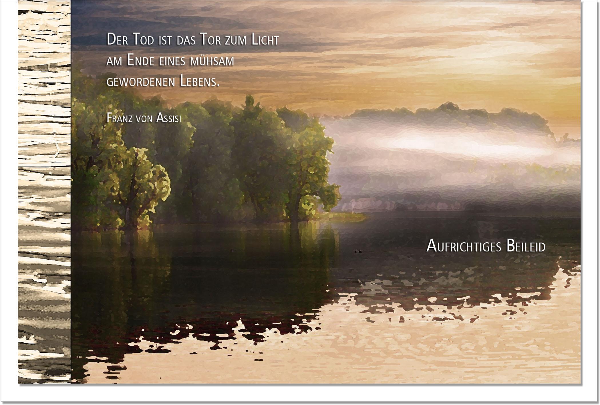 Kondolenzkarte ERLÖSUNG | See im Nebel | metALUm #00101