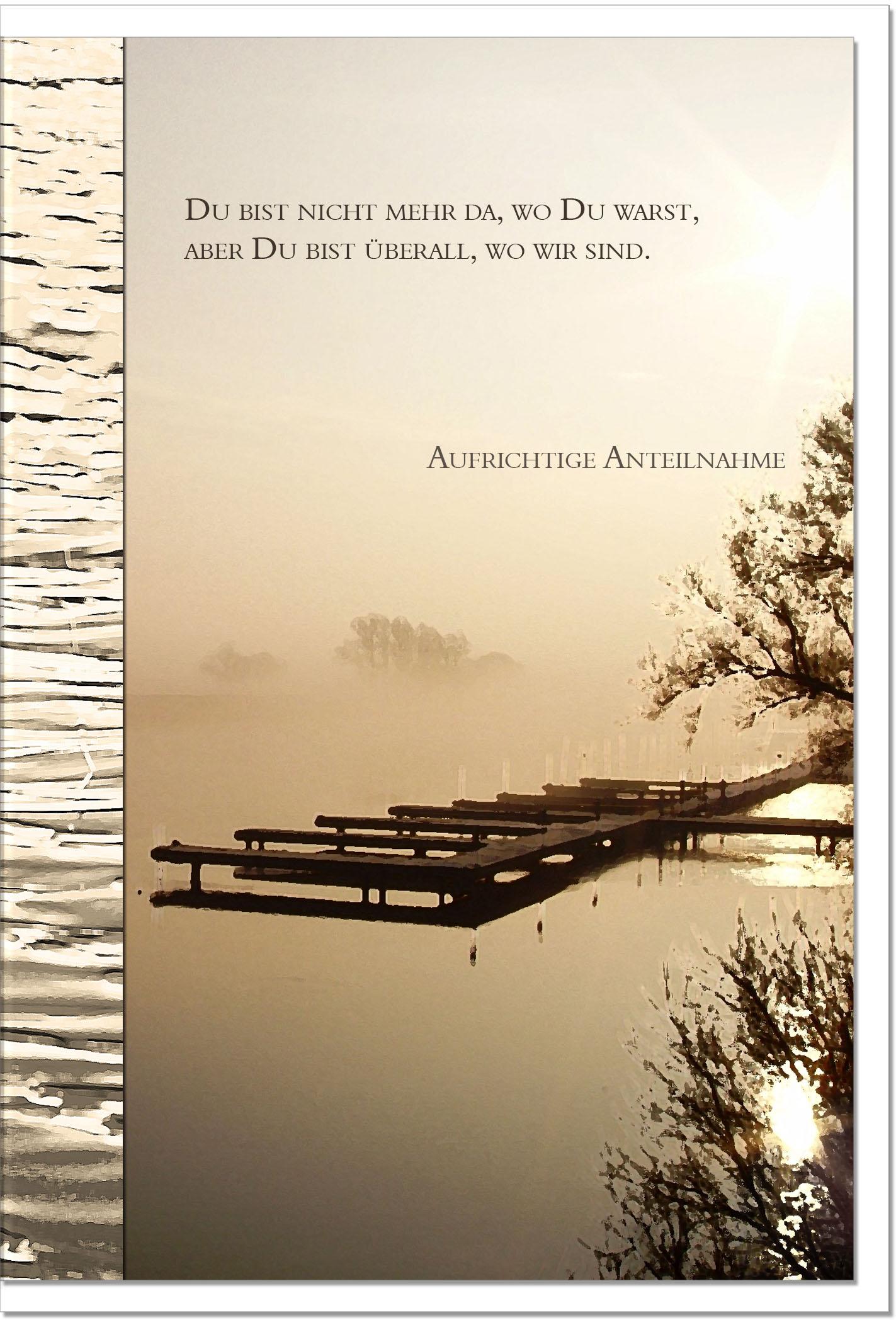 Atemberaubend Kondolenzkarte ABENDSTILLE | Steg im Sonnenuntergang | metALUm #WM_08