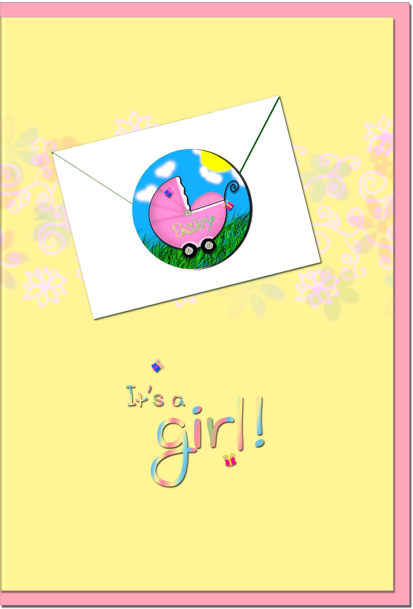 Geburtskarten / Grußkarten /Geburt Rosa Kinderwagen