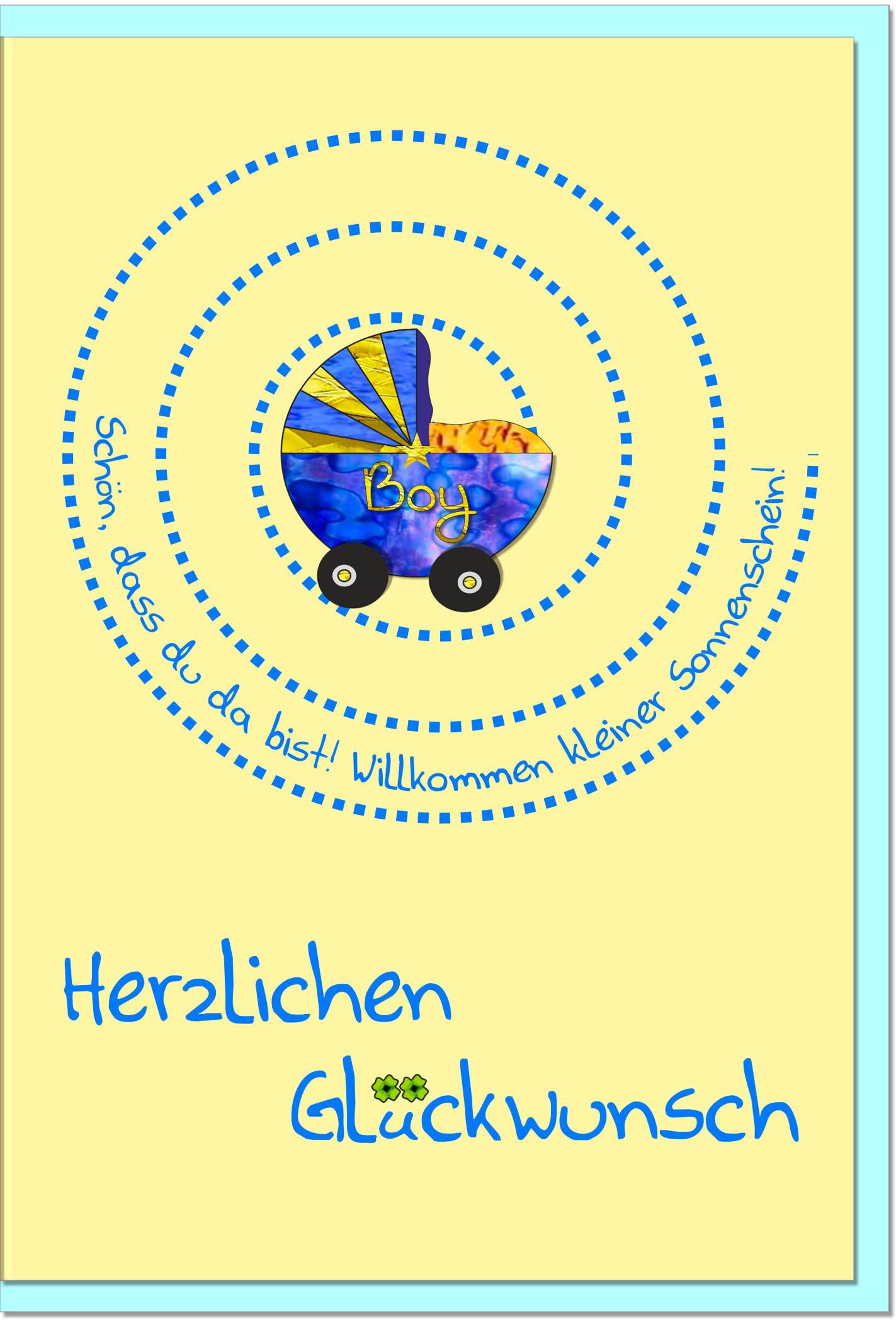Geburtskarten / Grußkarten /Geburt Blauer Kinderwagen