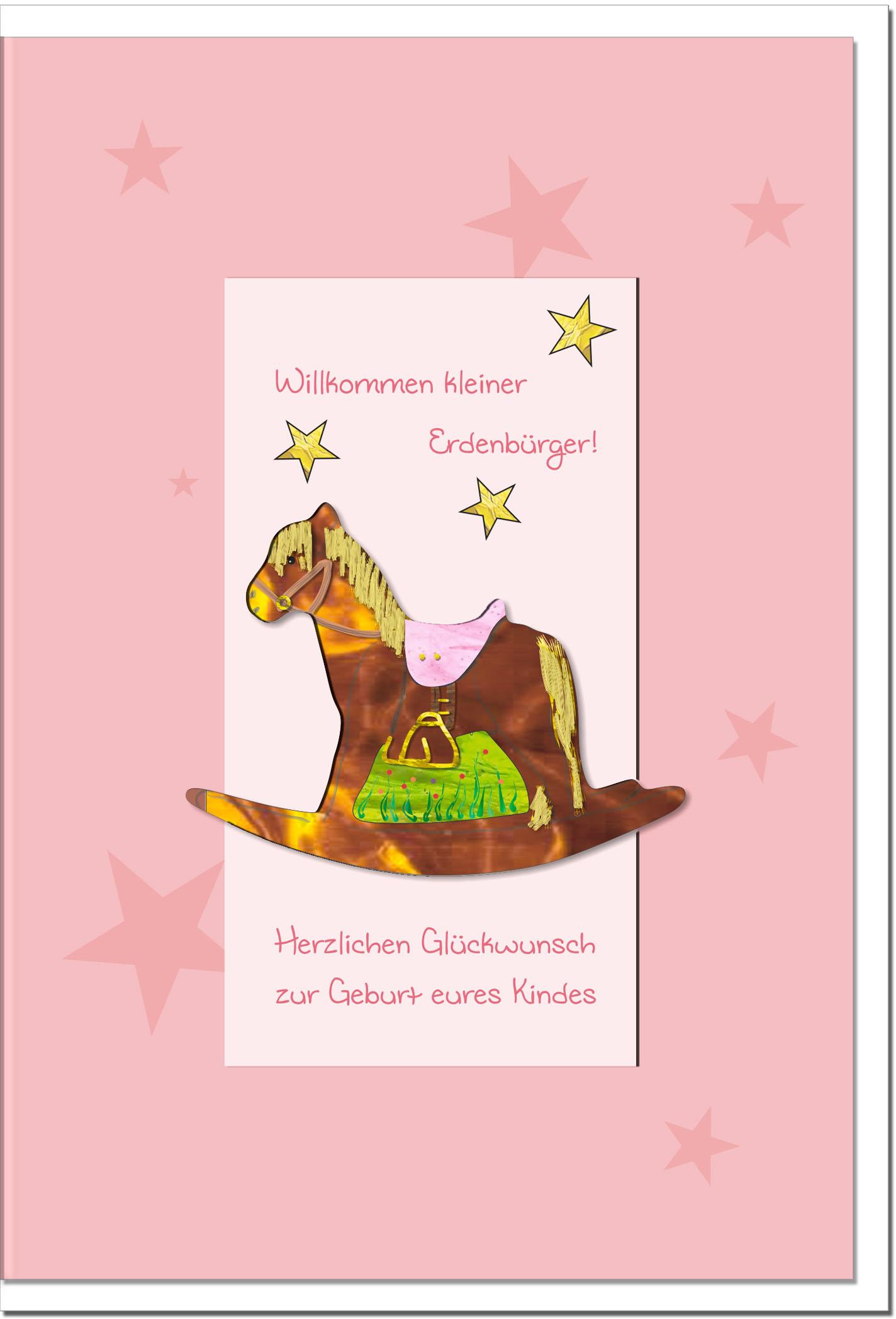 Geburtskarten / Grußkarten /Geburt Schaukelpferd auf rosa Karte