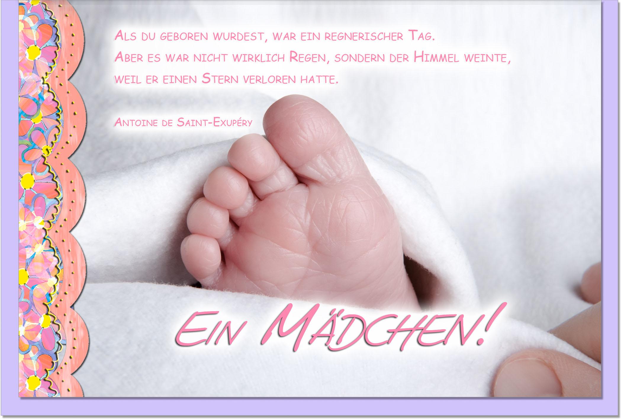 Geburtskarten / Grußkarten /Geburt Babyfuß