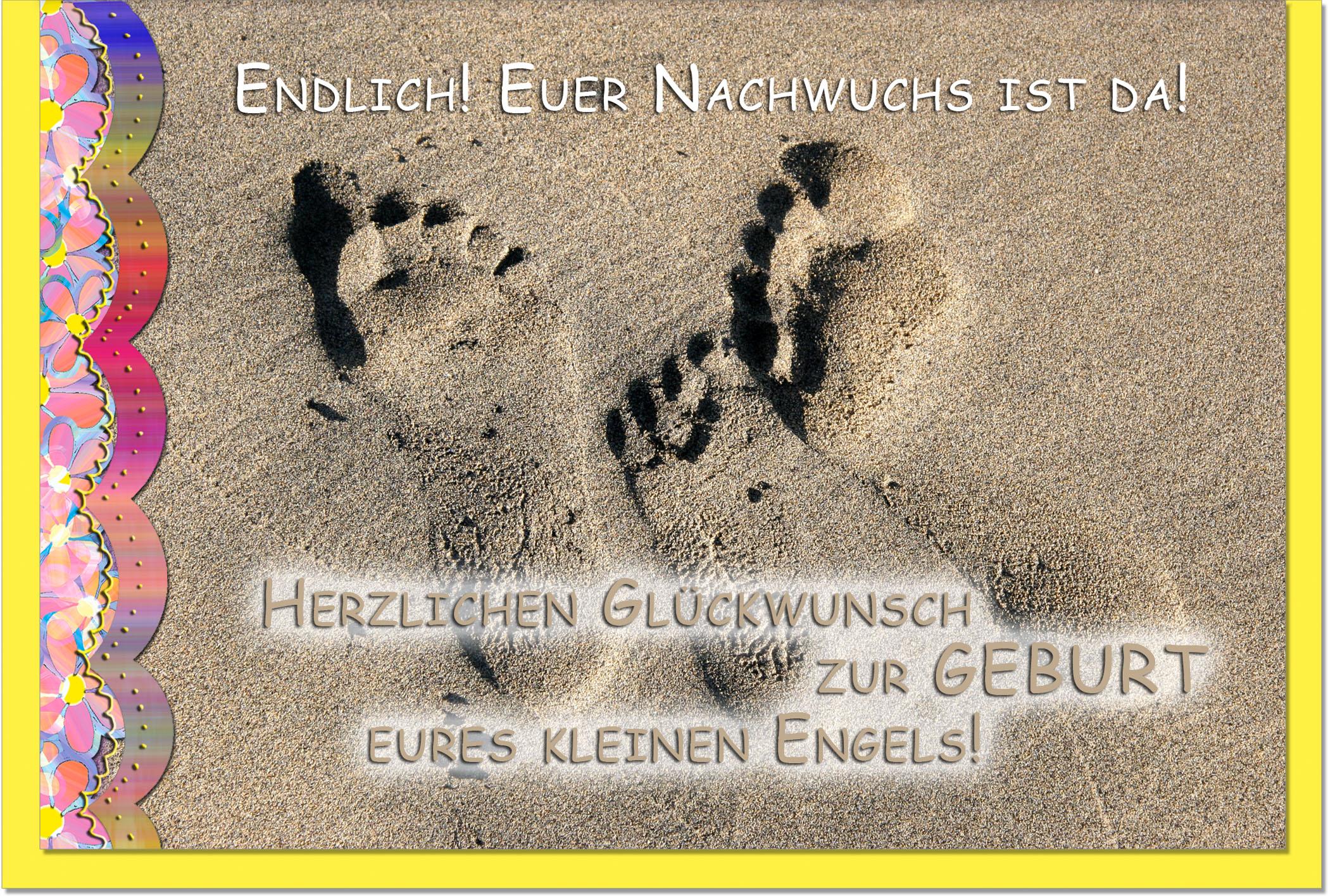 Geburtskarten / Grußkarten /Geburt Fußspuren im Sand