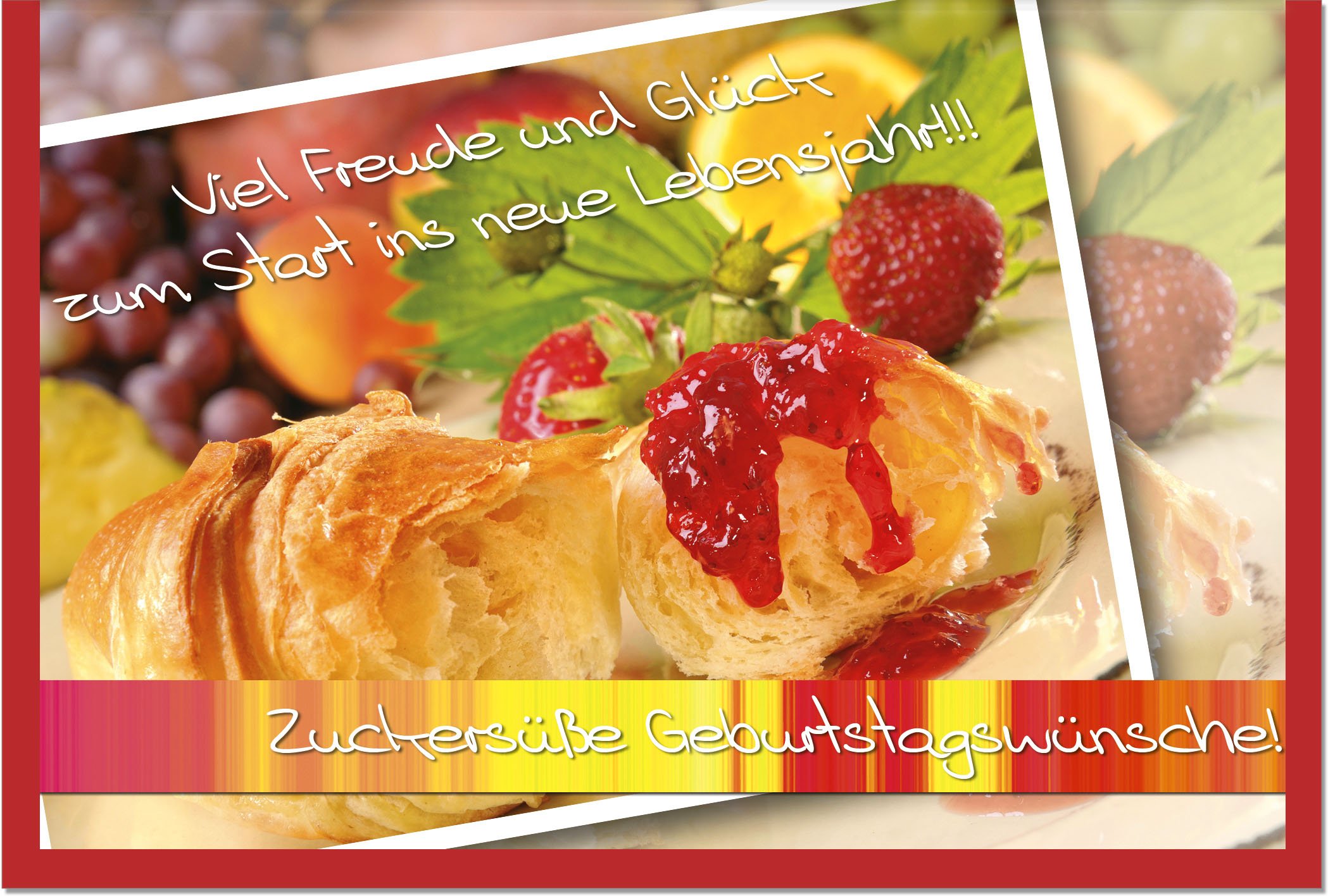 Geburtstagskarten / Grußkarten /Geburtstag Croissant