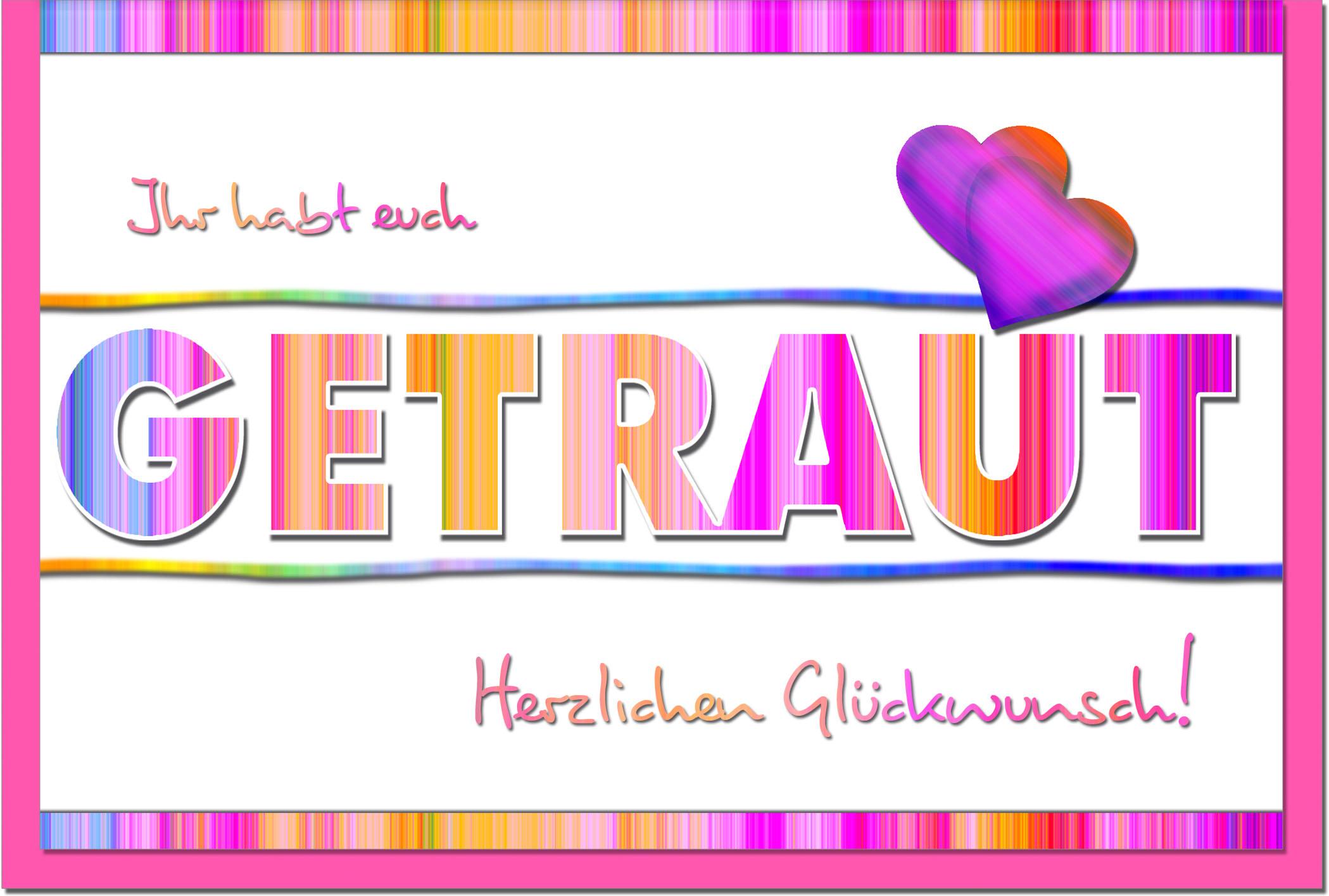 Hochzeitskarten / Grußkarten /Hochzeit Schriftzug Getraut
