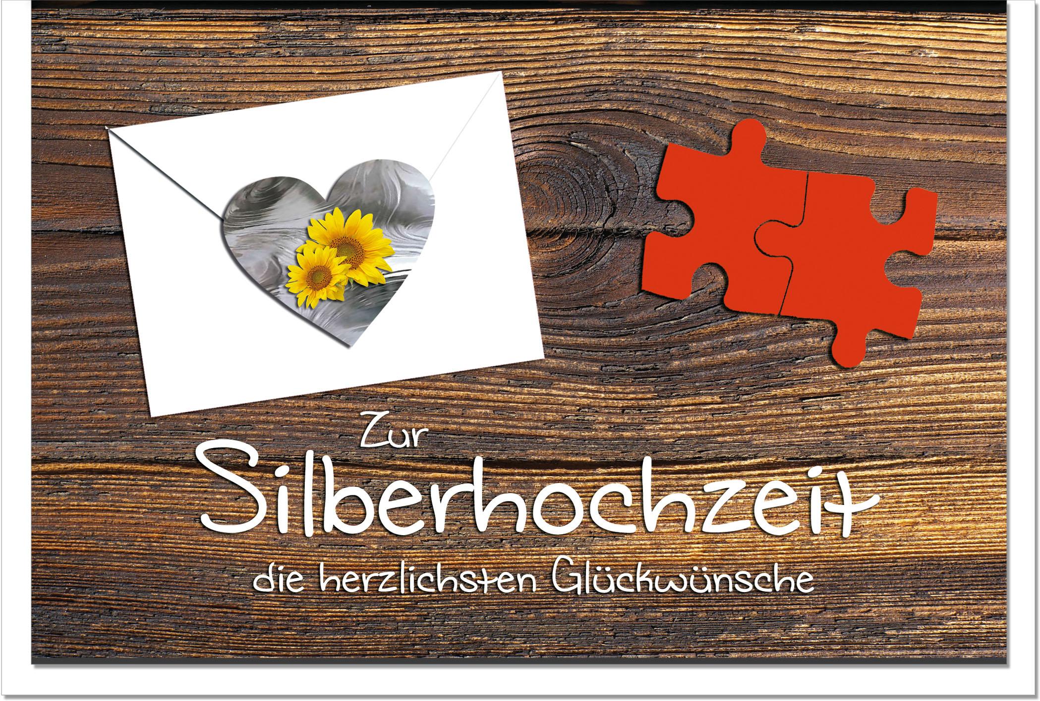 Silberne Hochzeit / Grußkarten /Silberhochzeit Herz und Puzzle