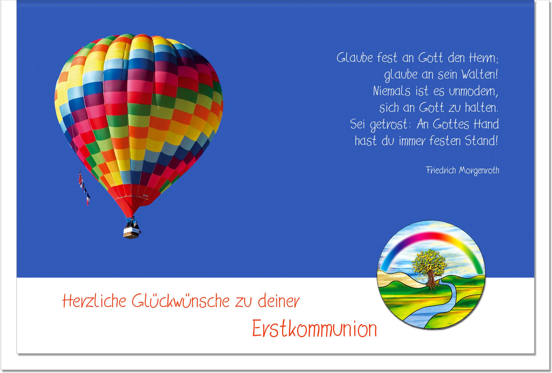 Kommunionskarten / Grußkarten /Kommunion Heißluftballon