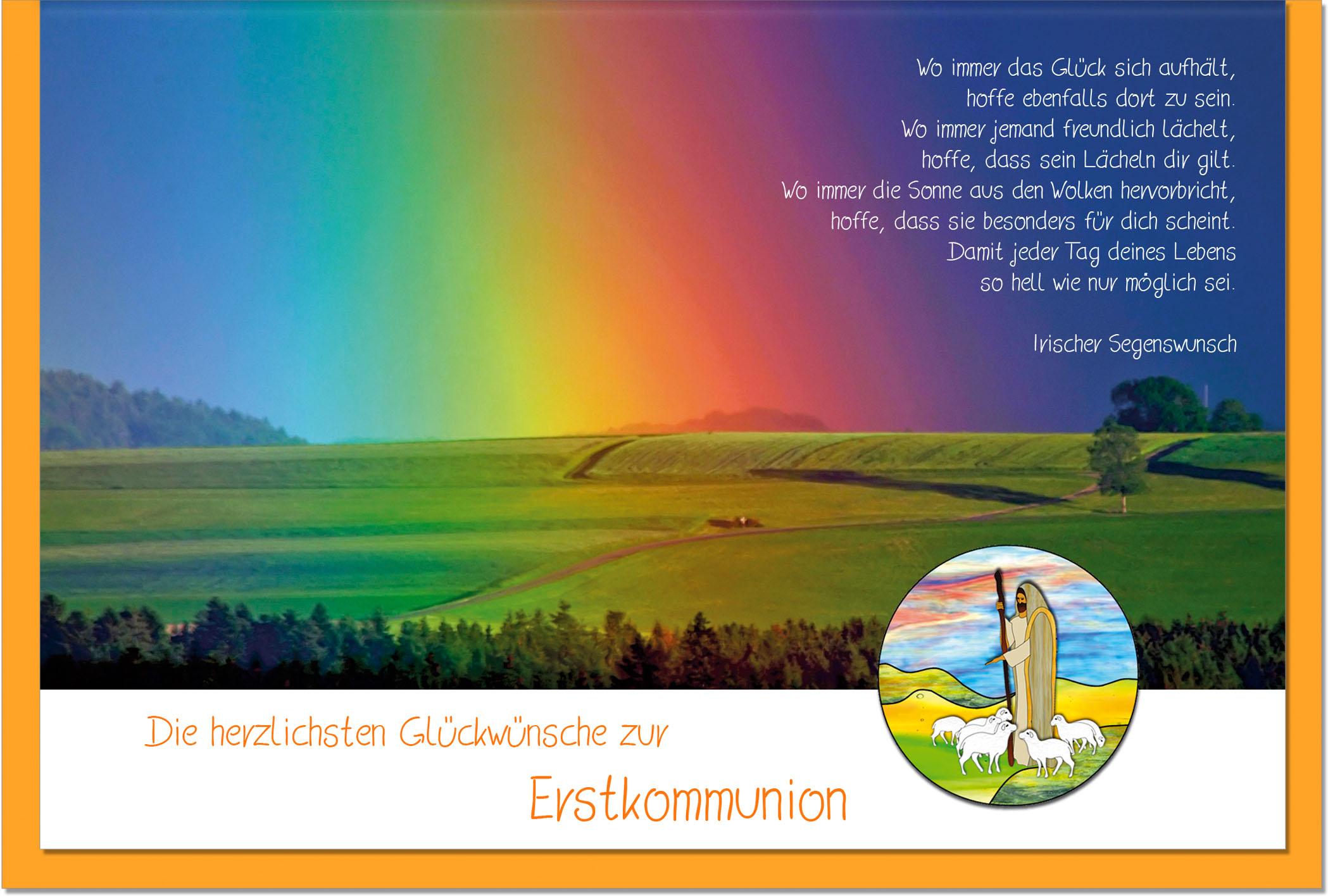 Kommunionskarten / Grußkarten /Kommunion Regenbogen