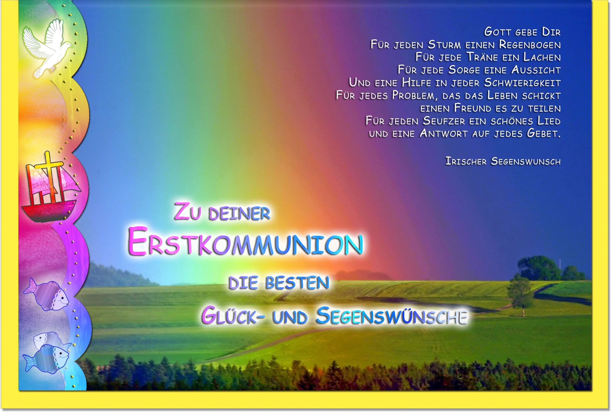 Kommunionskarten Grußkarten Kommunion Regenbogen