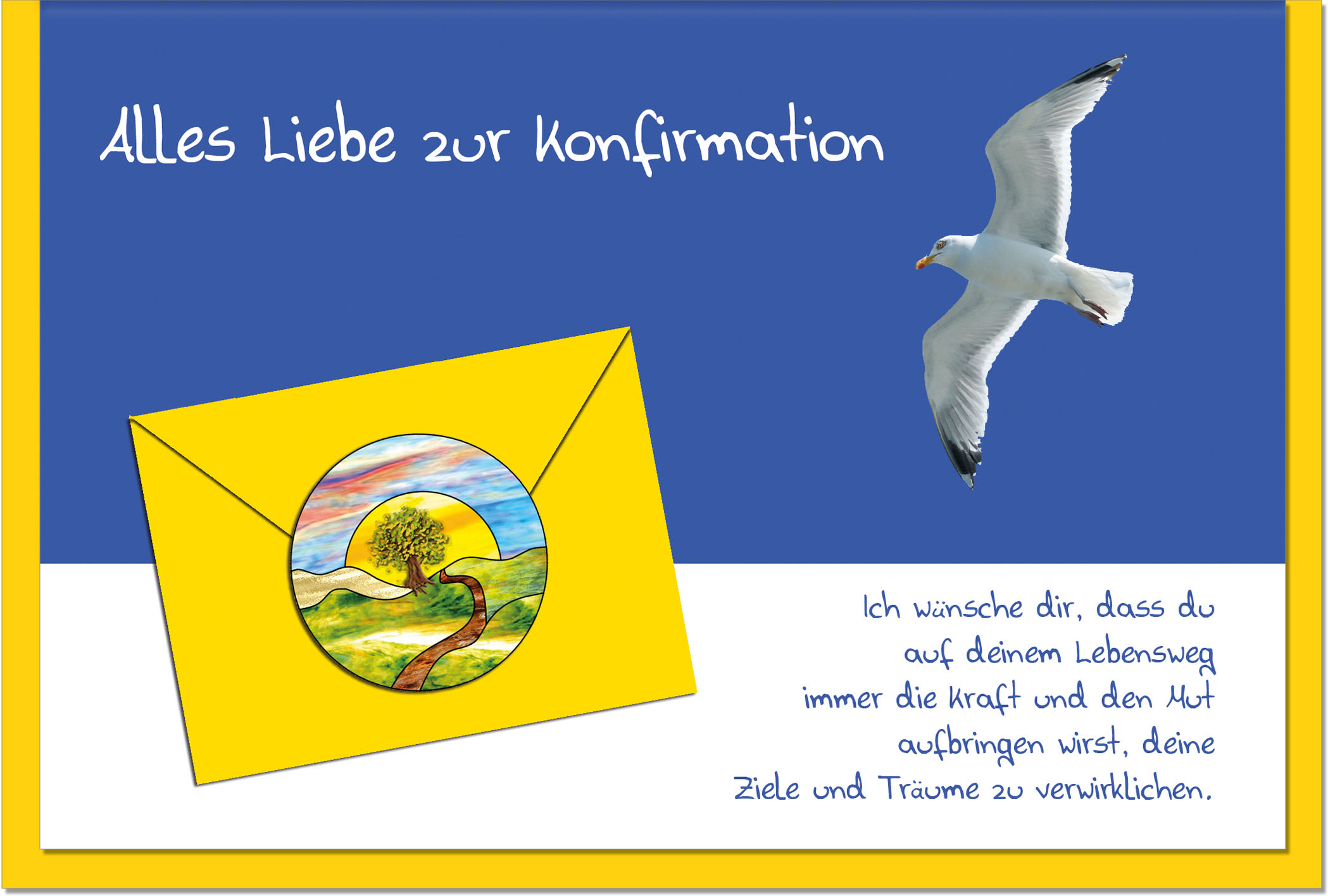 Konfirmationskarten / Grußkarten /Konfirmation Möwe