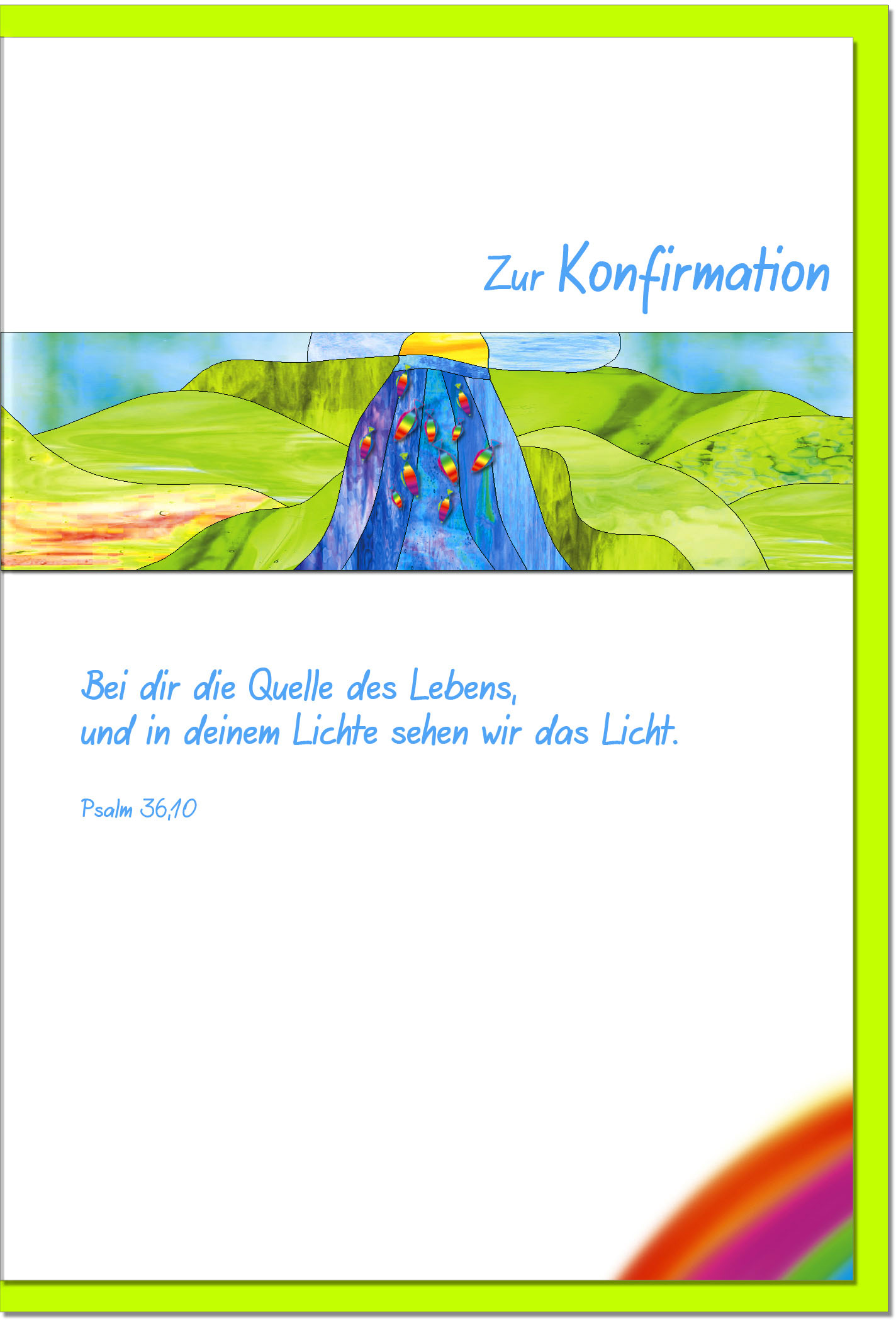 Konfirmationskarten / Grußkarten /Konfirmation Wasserfall