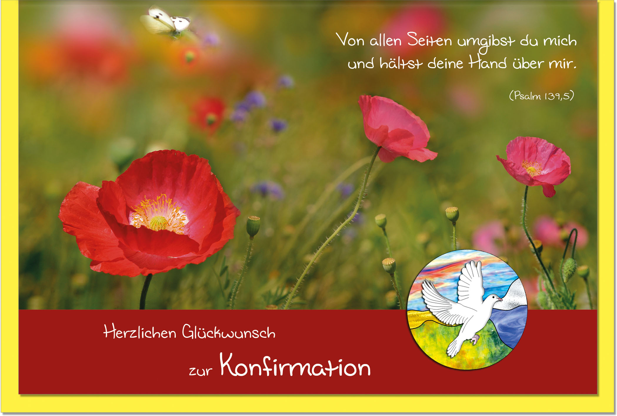Konfirmationskarten / Grußkarten /Konfirmation Mohnfeld