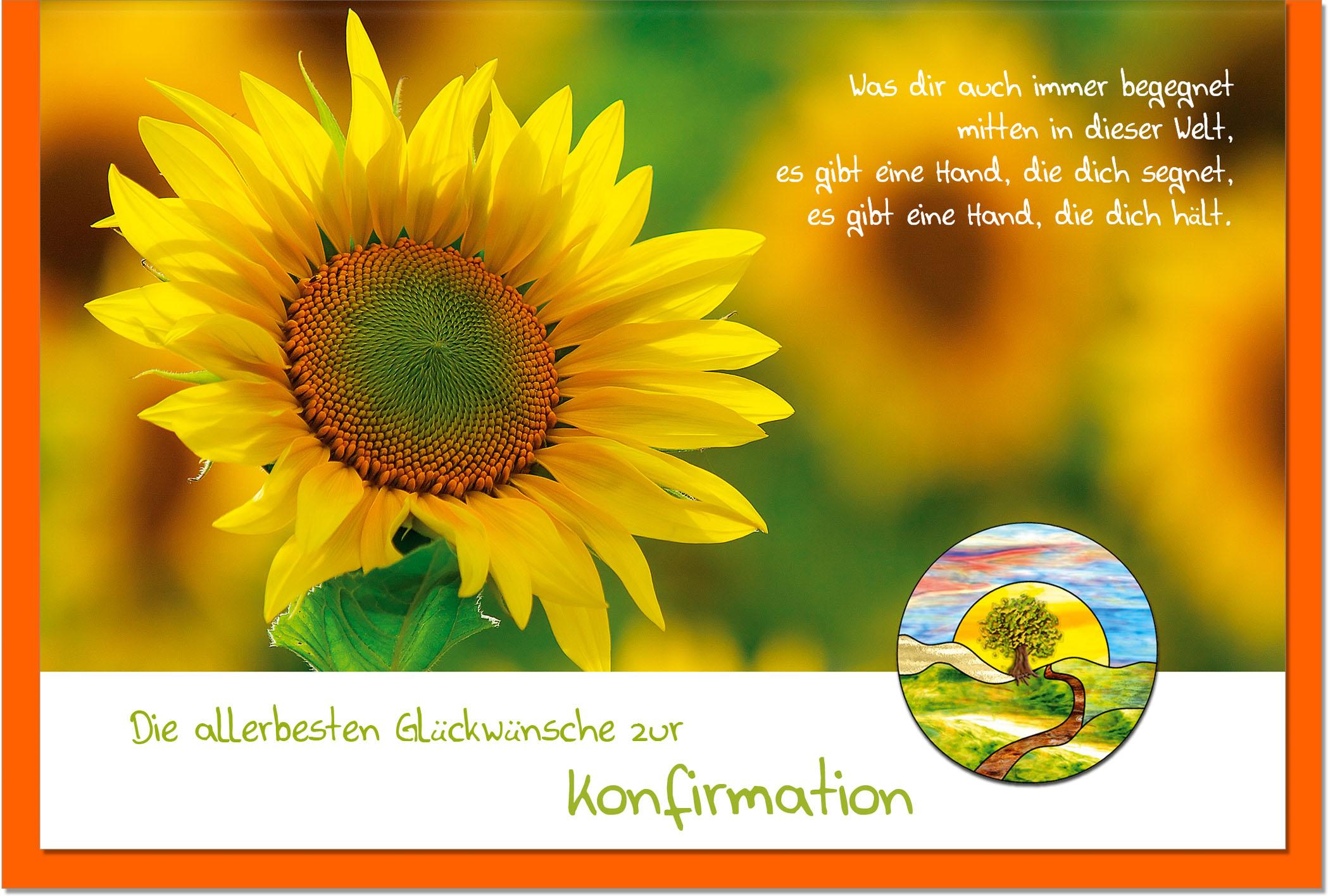 Konfirmationskarten / Grußkarten /Konfirmation Sonnenblume