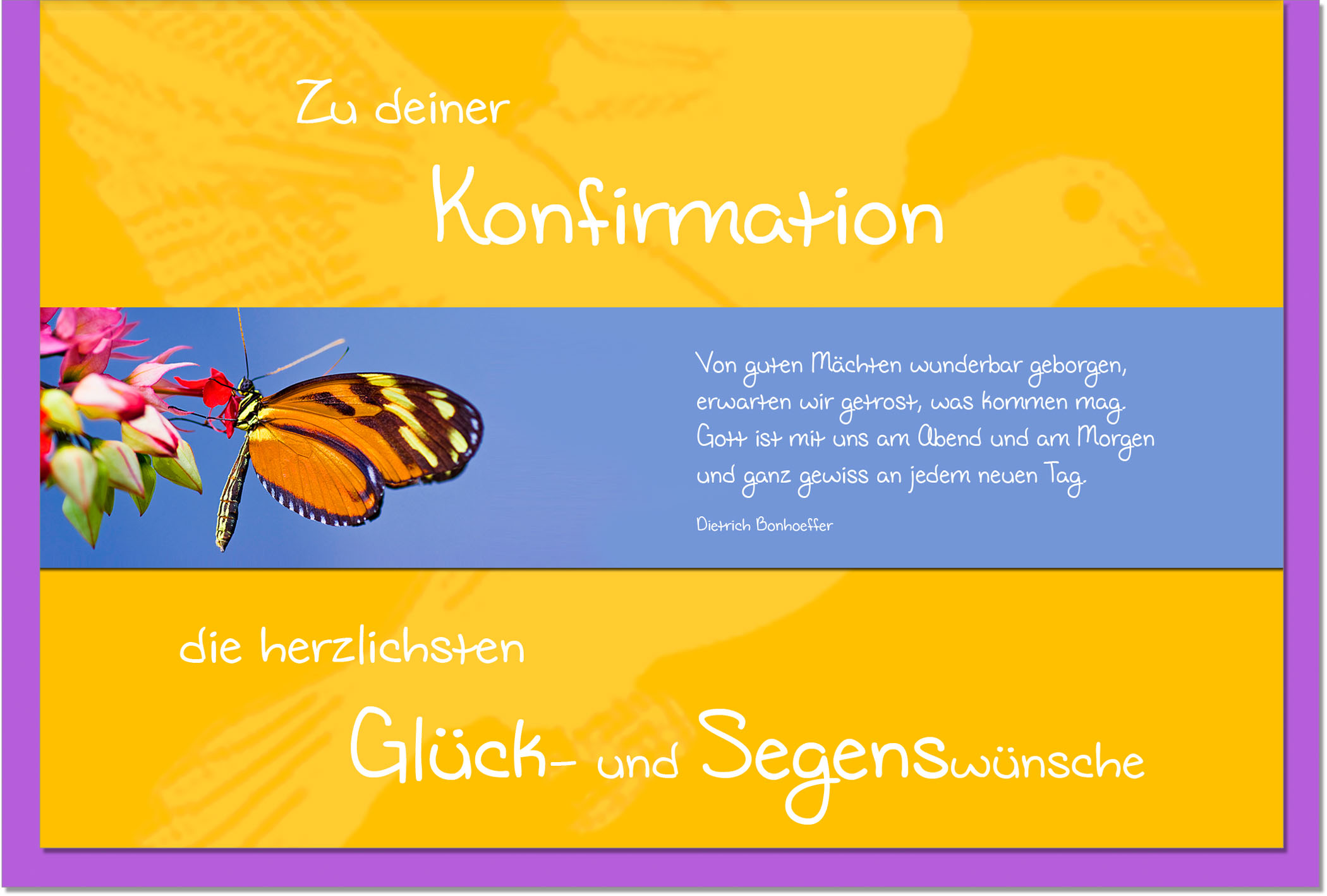 Konfirmationskarten / Grußkarten /Konfirmation Schmetterling